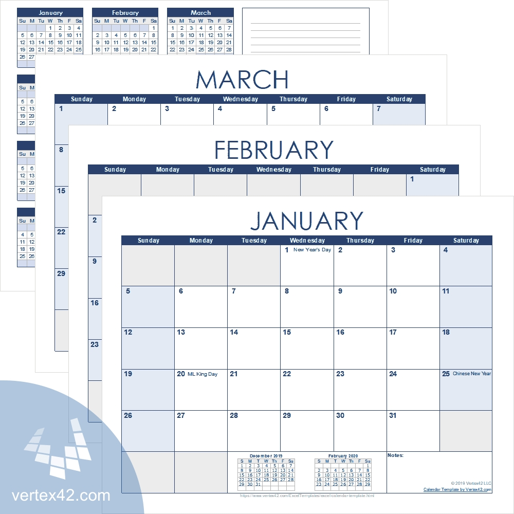 Excel Calendar Template For 2020 And Beyond  Monthly Calendar Payment Excel Template