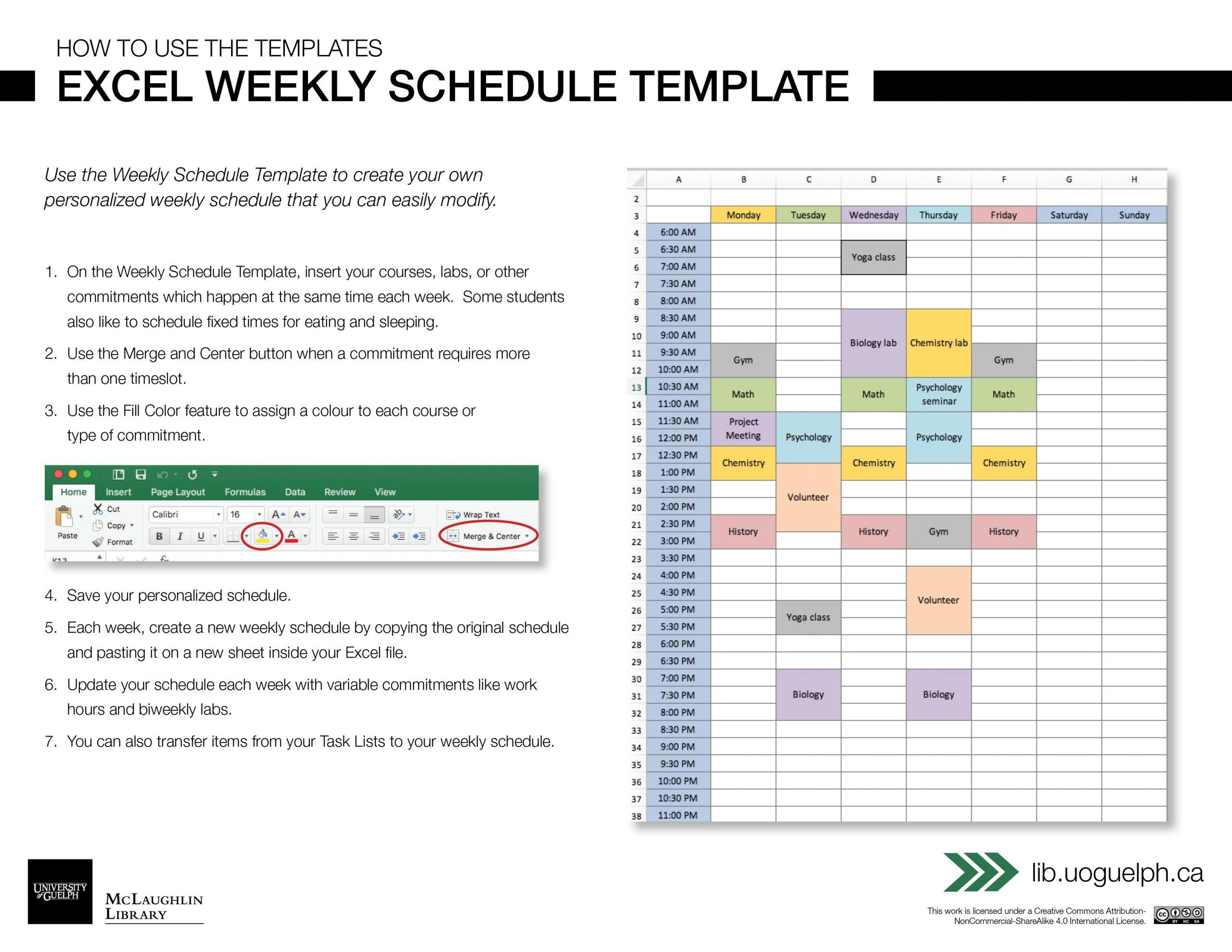Excel Weekly Schedule Template | Digital Learning Commons  Excel Weekly Calendar Template