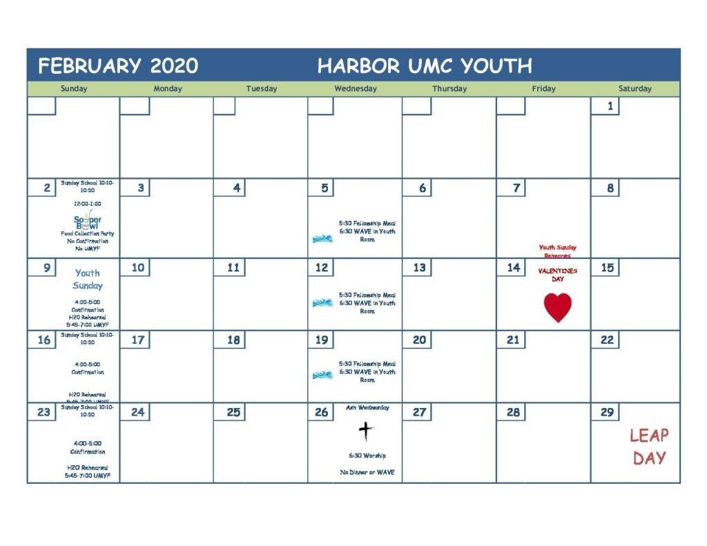 February 2020 Youth Ministry Calendar - Harbor United  2020 Calendar For United Methodist