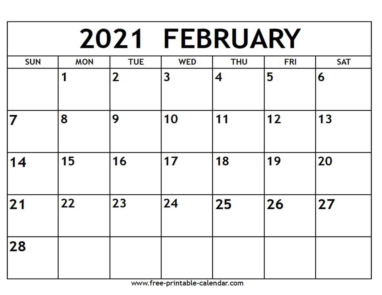 February 2021 Calendar - Free-Printable-Calendar  Calendar 2021 Free Printable