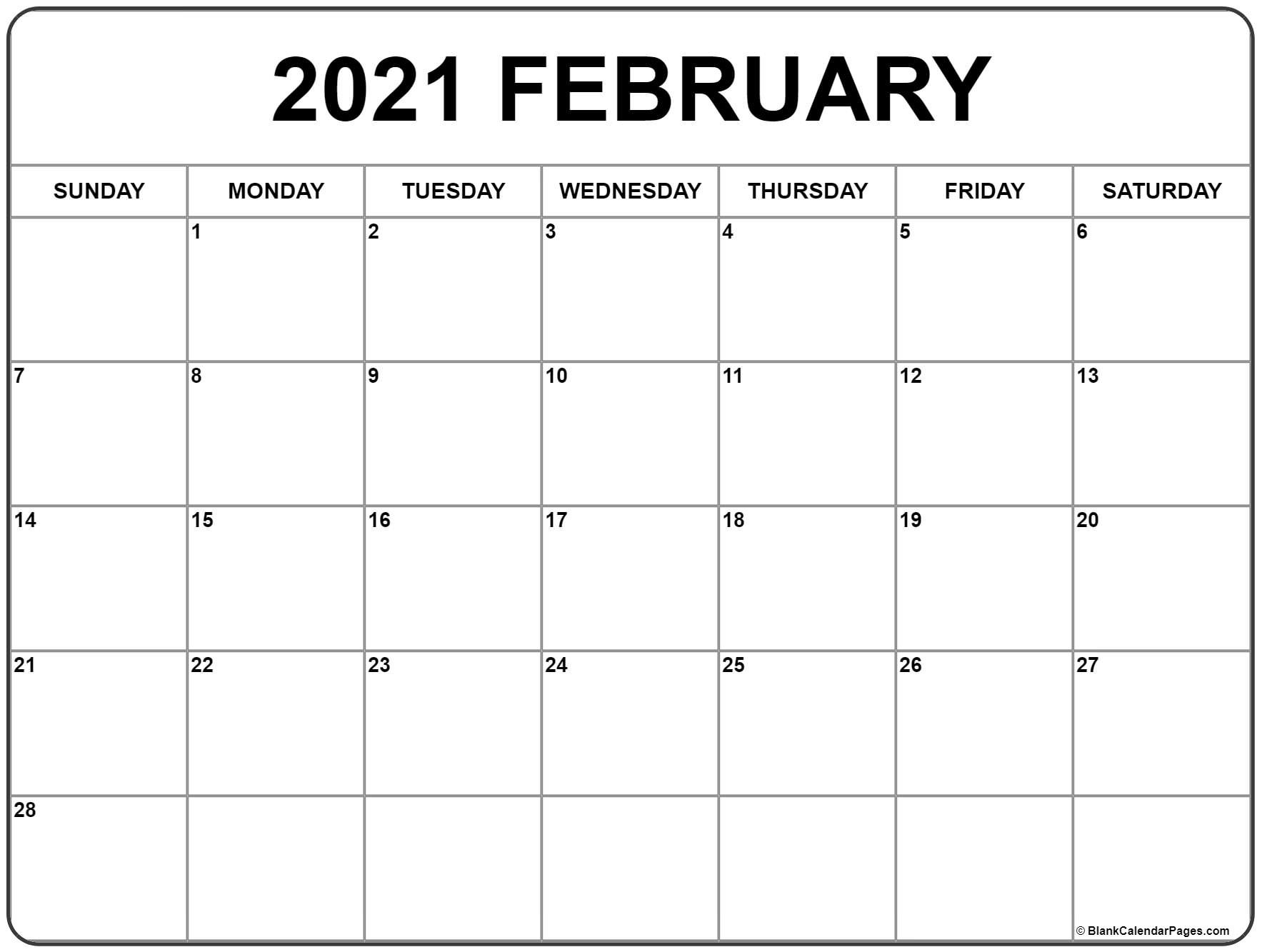 February 2021 Calendar | Free Printable Monthly Calendars  Printable Online Calendar 2021