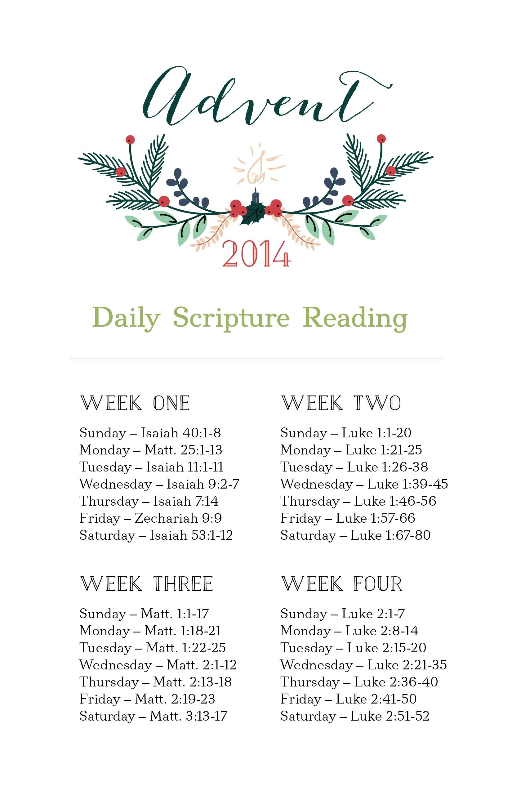 Fellowshipnwa Daily Scripture Readings #Advent | Daily  Advent Scriptures 2021