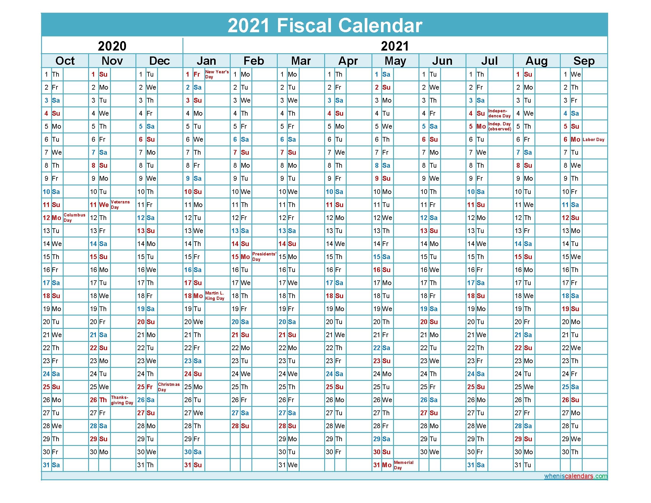 Fiscal Calendar 2021 Federal Fiscal Year – Template No  2021/2021 Financial Calendar Pdf