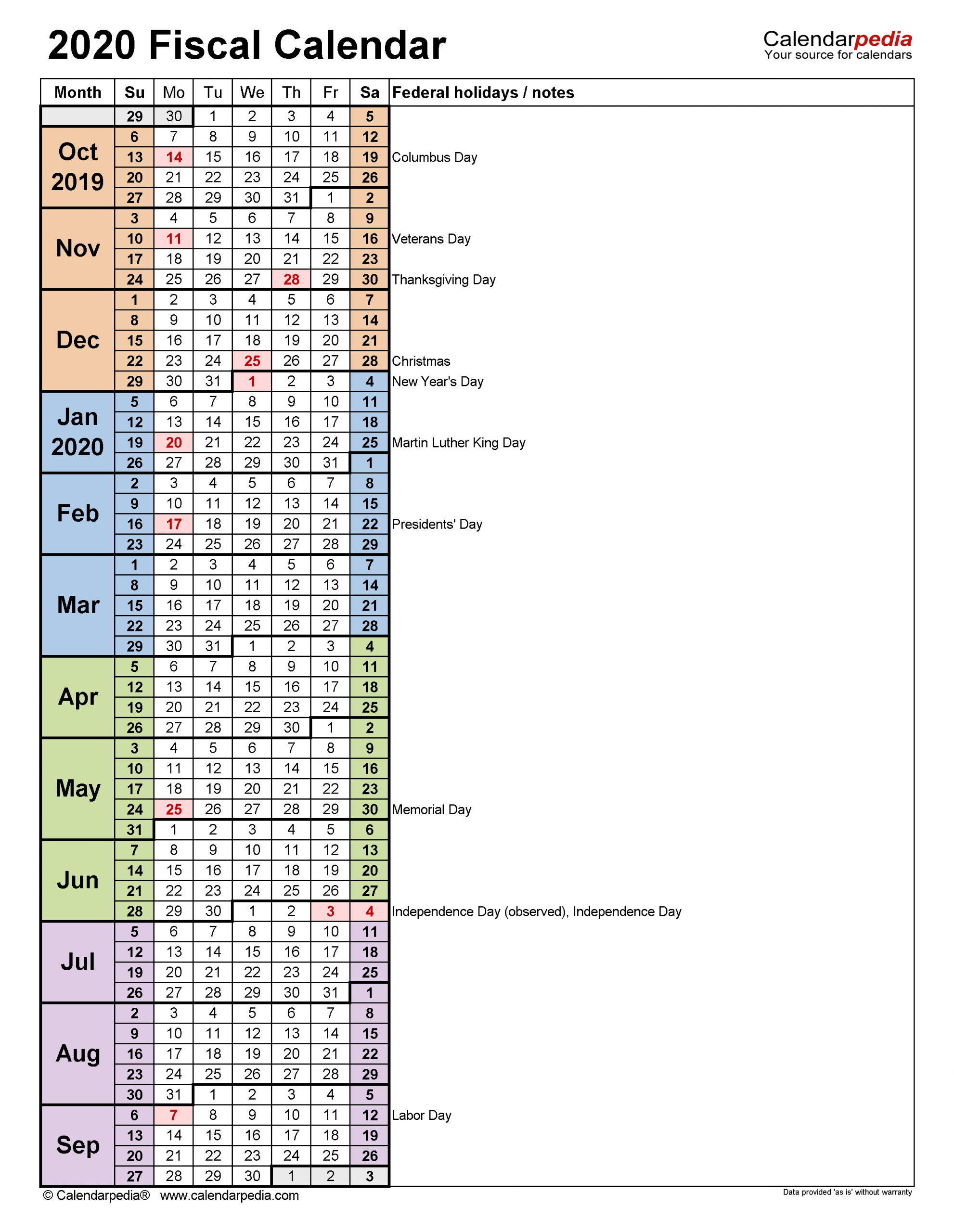 Fiscal Calendars 2020 - Free Printable Excel Templates  2021 2020 Financial Year Cycle Australia