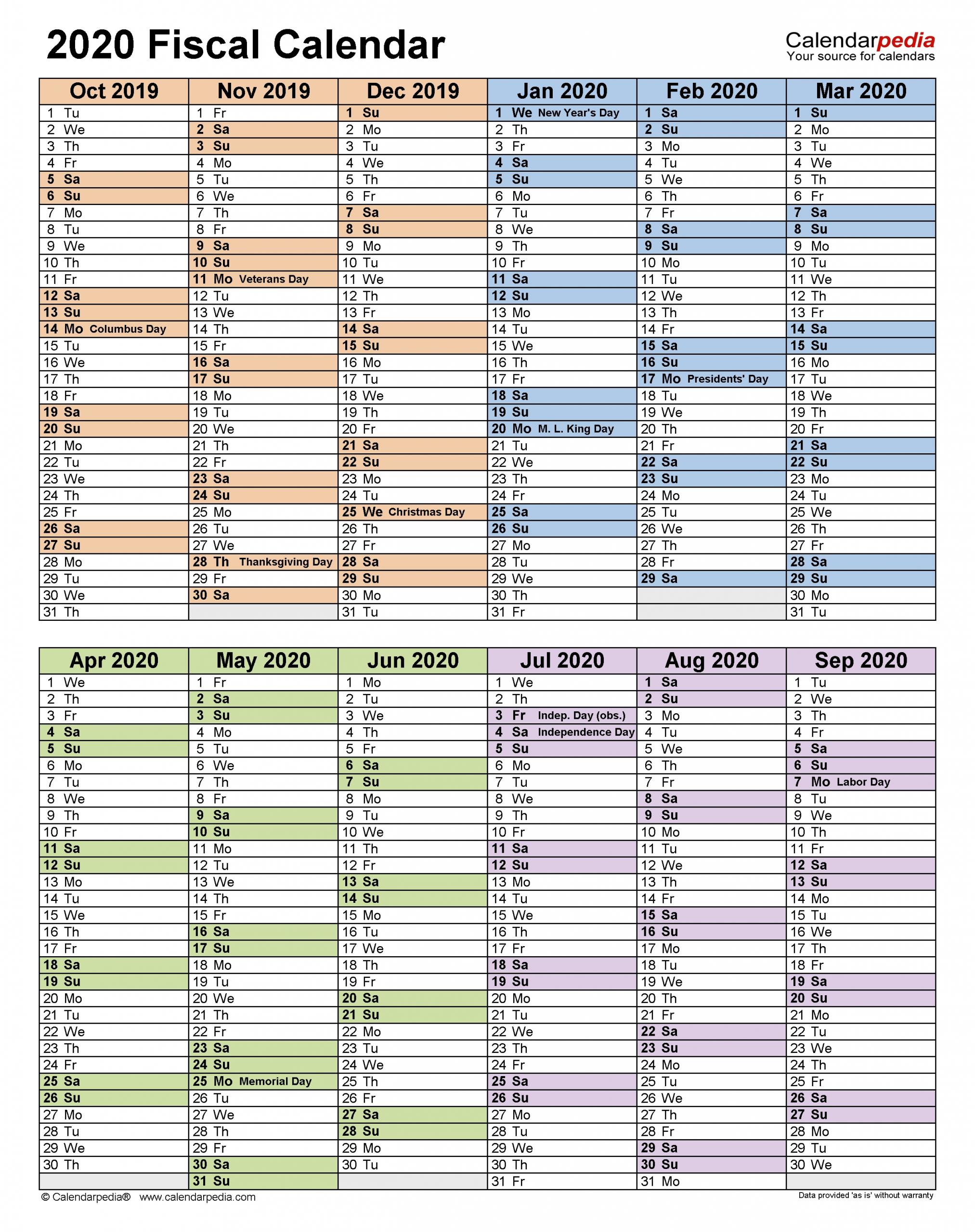 Fiscal Calendars 2020 - Free Printable Pdf Templates  18 19 Financial Year Dates Australia