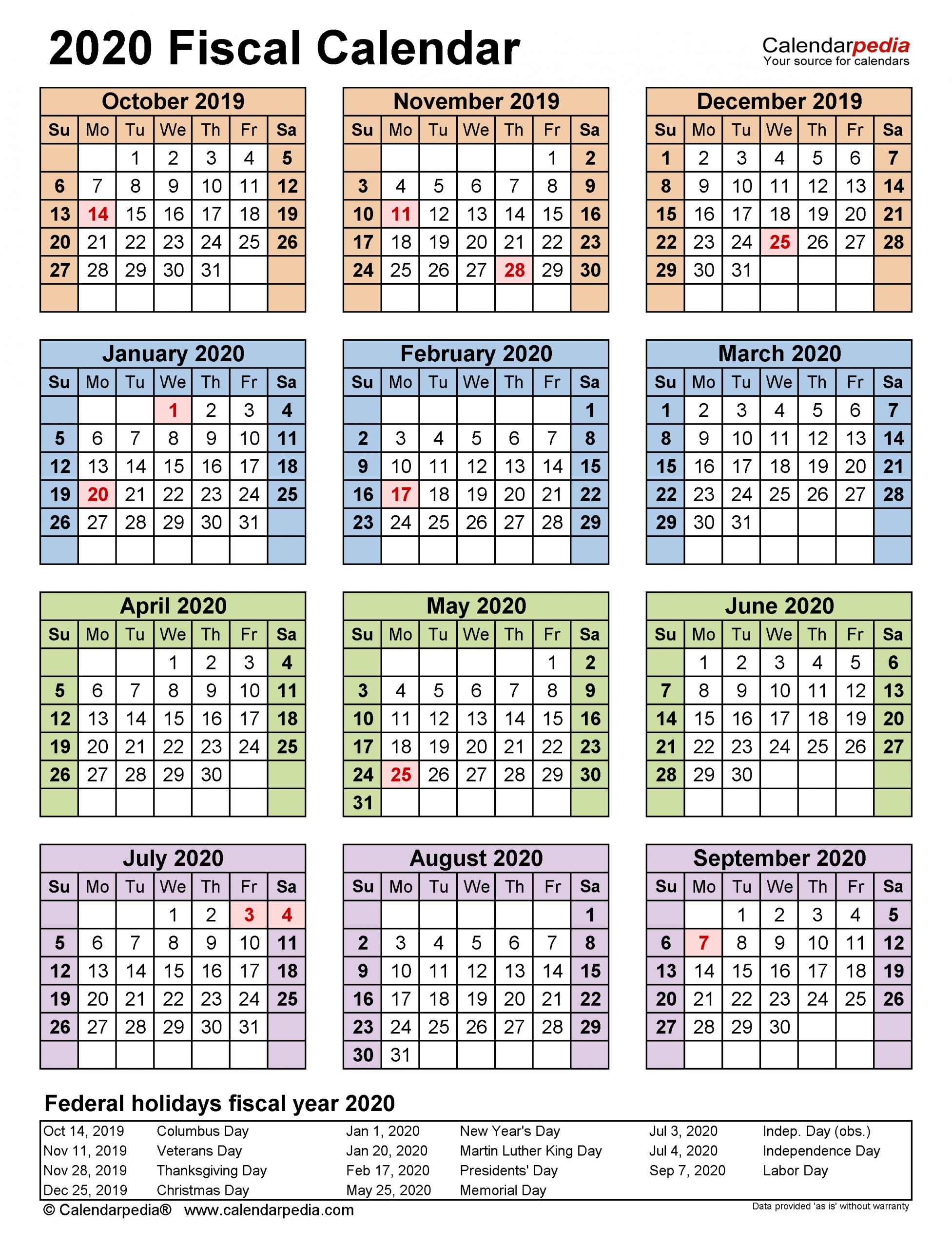 Fiscal Calendars 2020 - Free Printable Pdf Templates  18/19 Financial Year Dates
