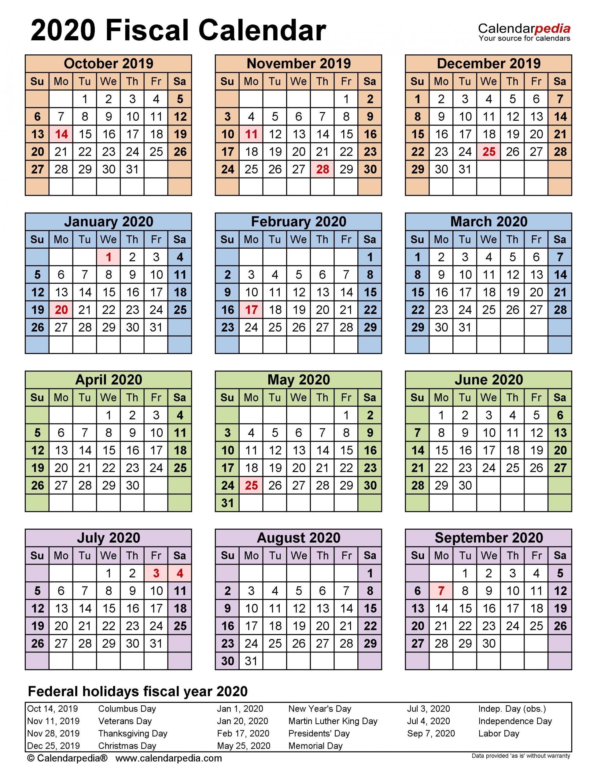 Fiscal Calendars 2020 - Free Printable Pdf Templates  Financial Year 19 Weeks Calendar