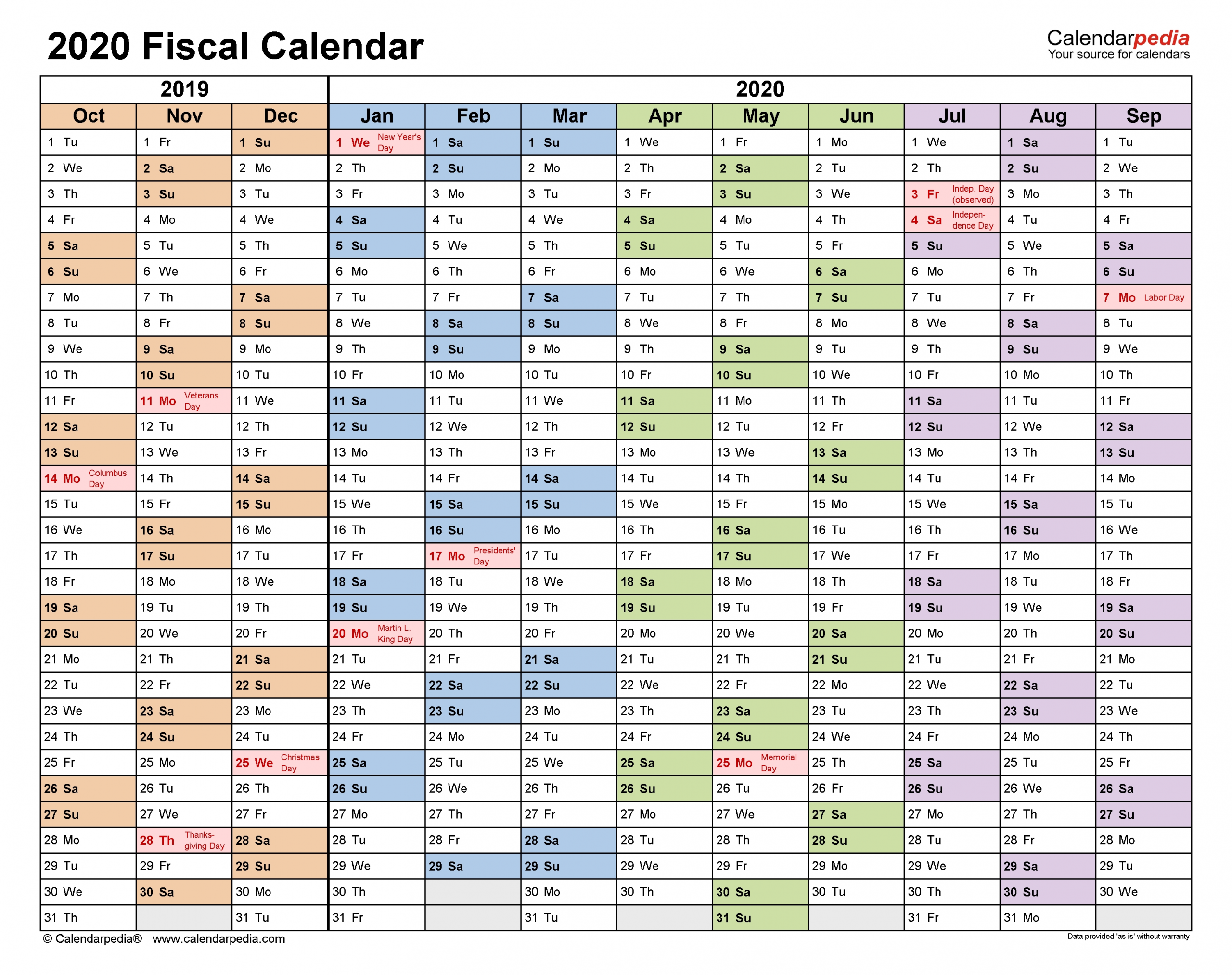 Fiscal Calendars 2020 - Free Printable Pdf Templates  Financial Years Dates Australia