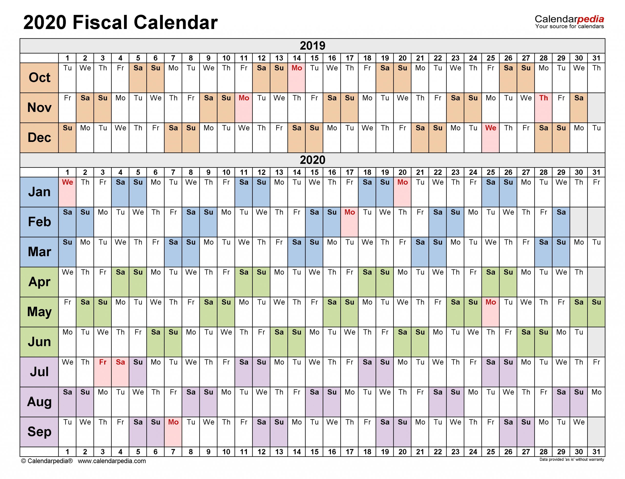 Fiscal Calendars 2020 - Free Printable Pdf Templates  Julien Code 2021