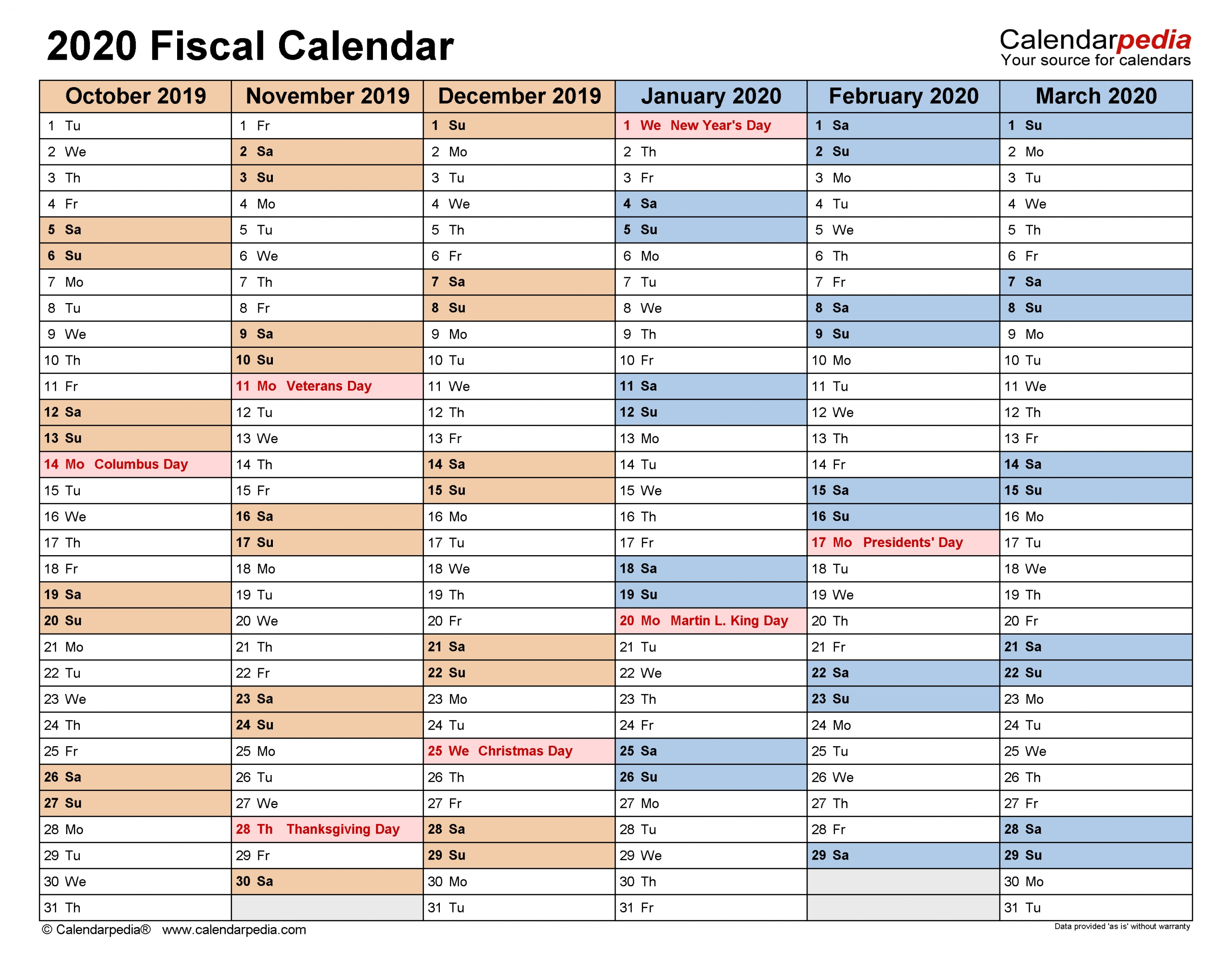 Fiscal Calendars 2020 - Free Printable Pdf Templates  Last Financial Year Australia