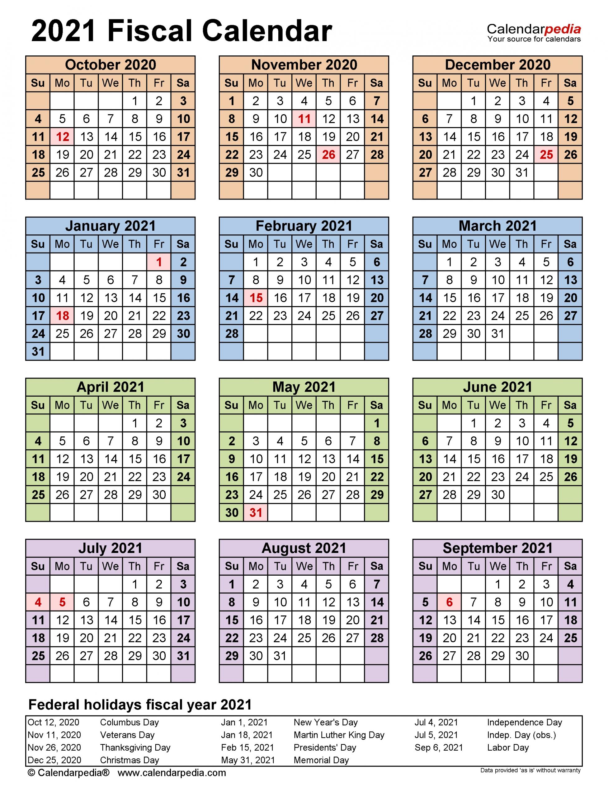 Fiscal Calendars 2021 - Free Printable Excel Templates  2021/2021 Financial Calendar Pdf