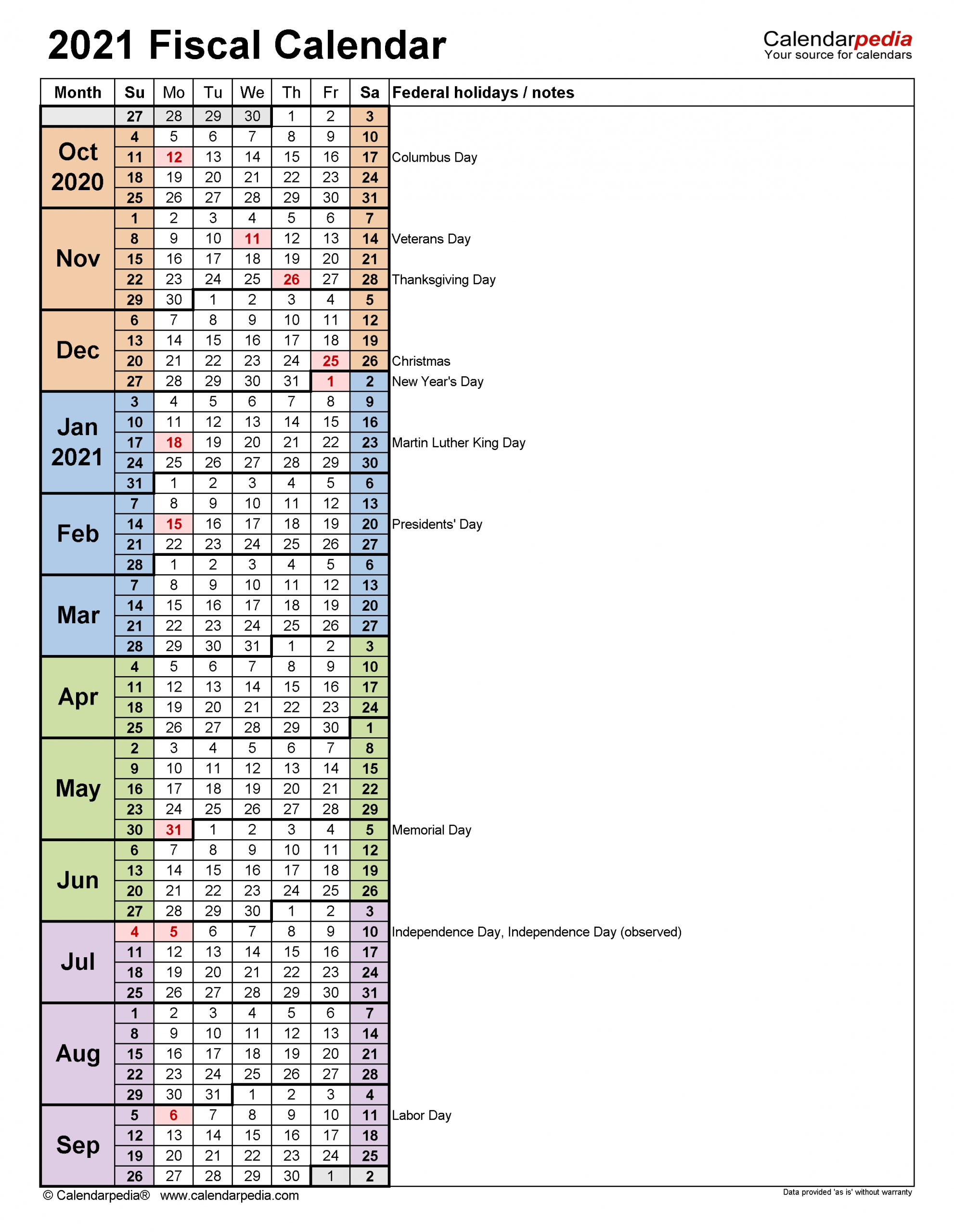 Fiscal Calendars 2021 - Free Printable Excel Templates  Financial Year 2021 Dates