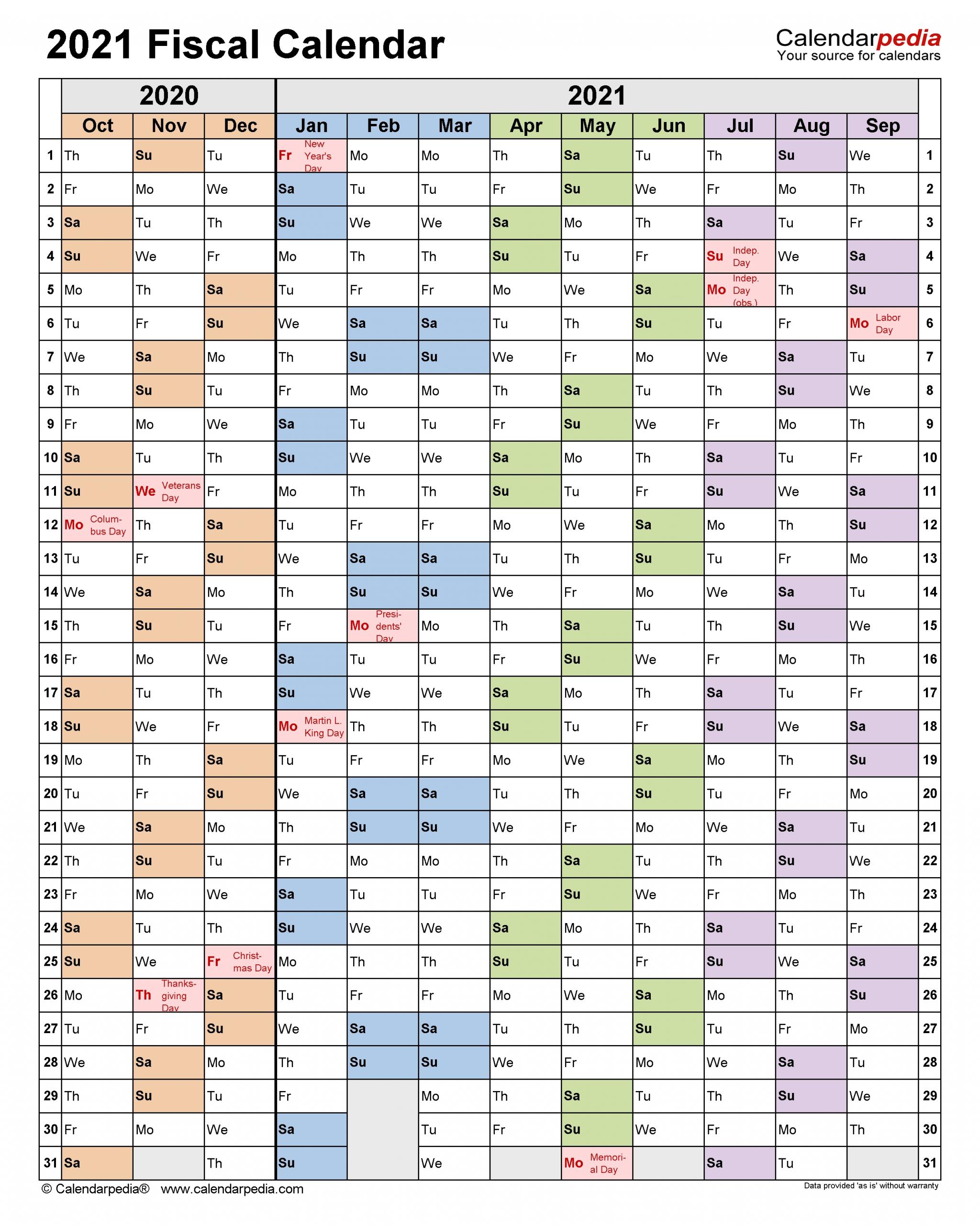 Fiscal Calendars 2021 - Free Printable Excel Templates  Printable Fiscal Year Calendar 2021 2021