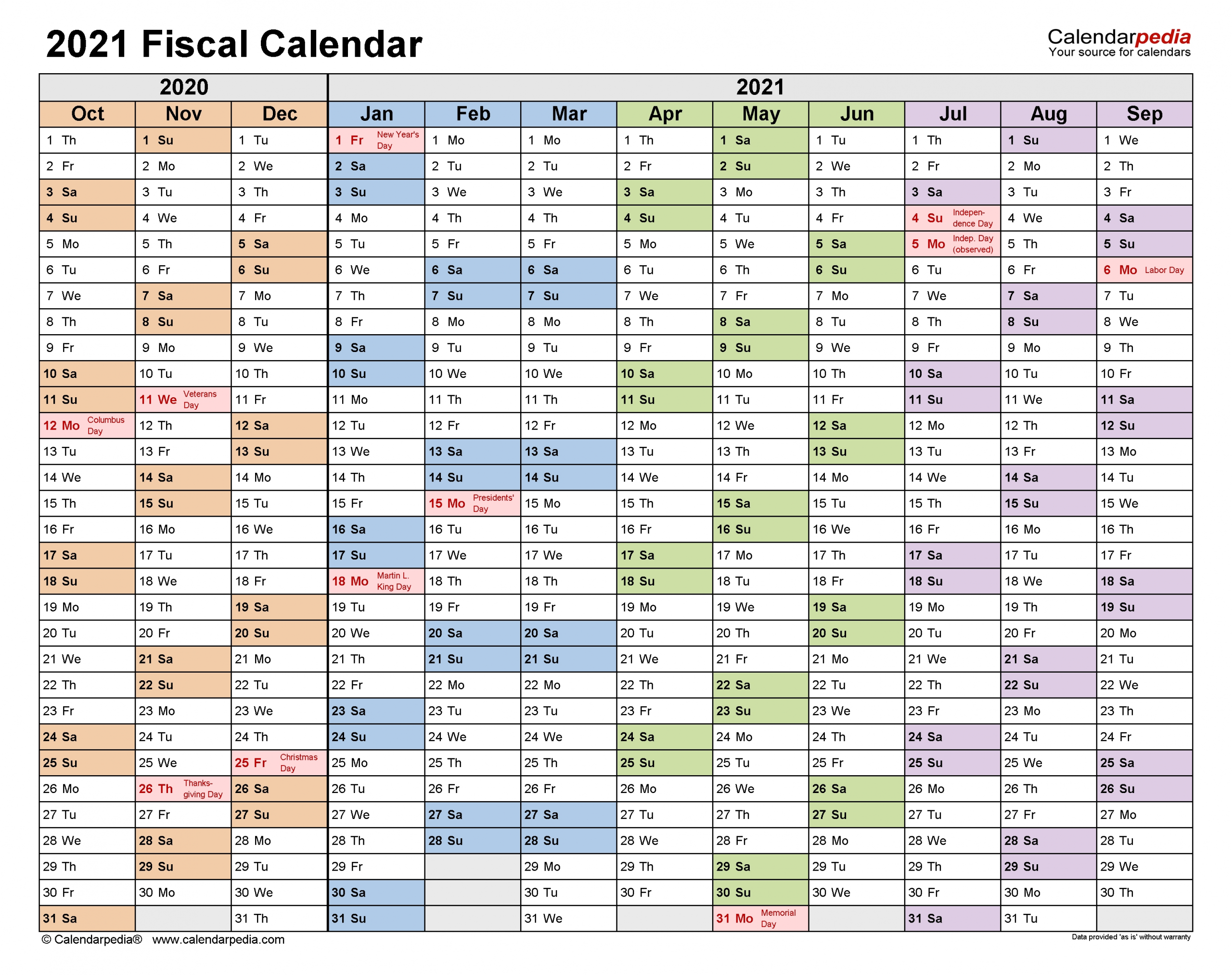 Fiscal Calendars 2021 - Free Printable Pdf Templates  2021 Financial Year Dates Australia