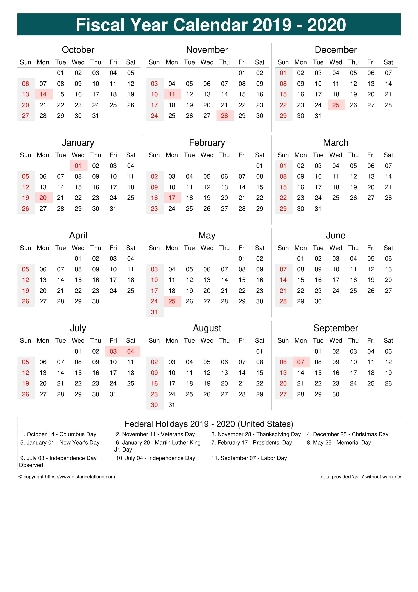 Fiscal Year 2019-2020 Calendar Templates, Free Printable  Australia What Are The Dates For The 18/19 Financial Year