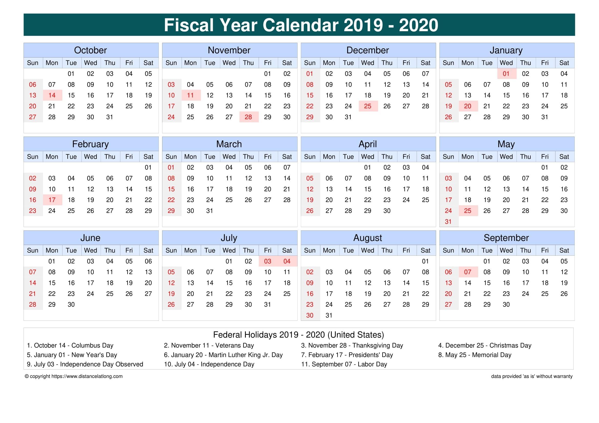 Fiscal Year 2019-2020 Calendar Templates, Free Printable  Calendar 18/19 Financial Year Australia