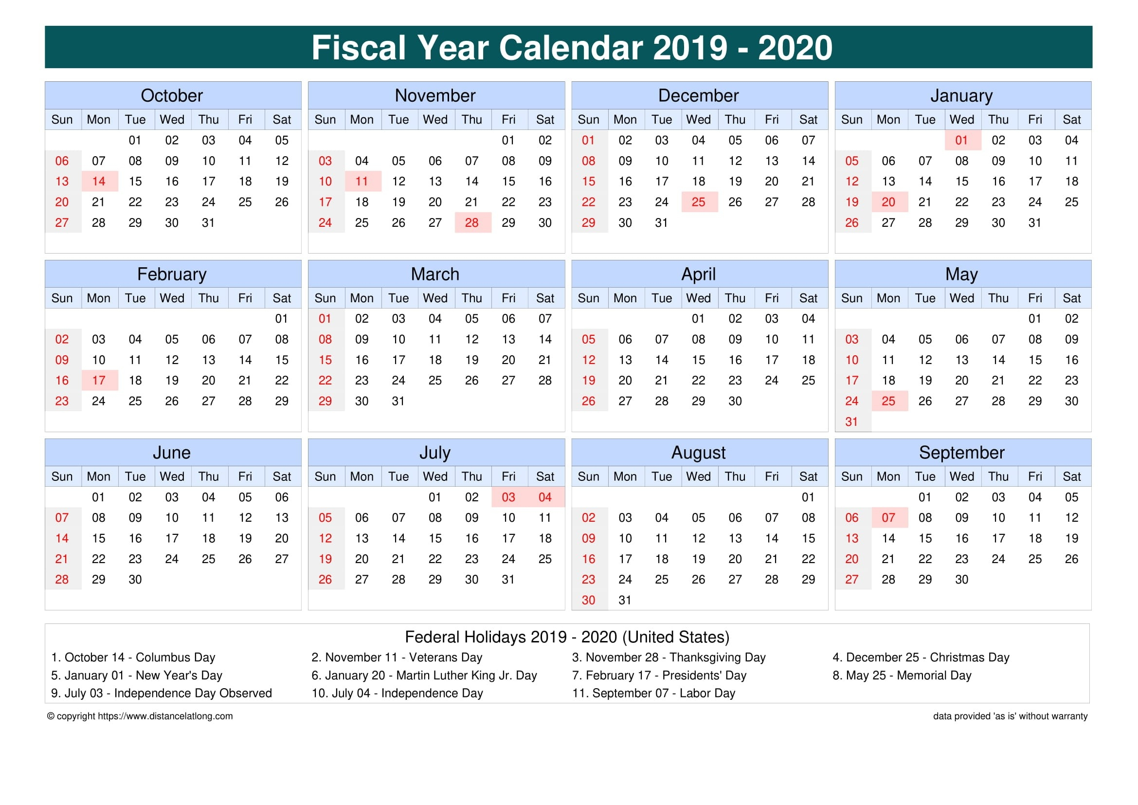 Fiscal Year 2019-2020 Calendar Templates, Free Printable  Download Financial Year Calendar