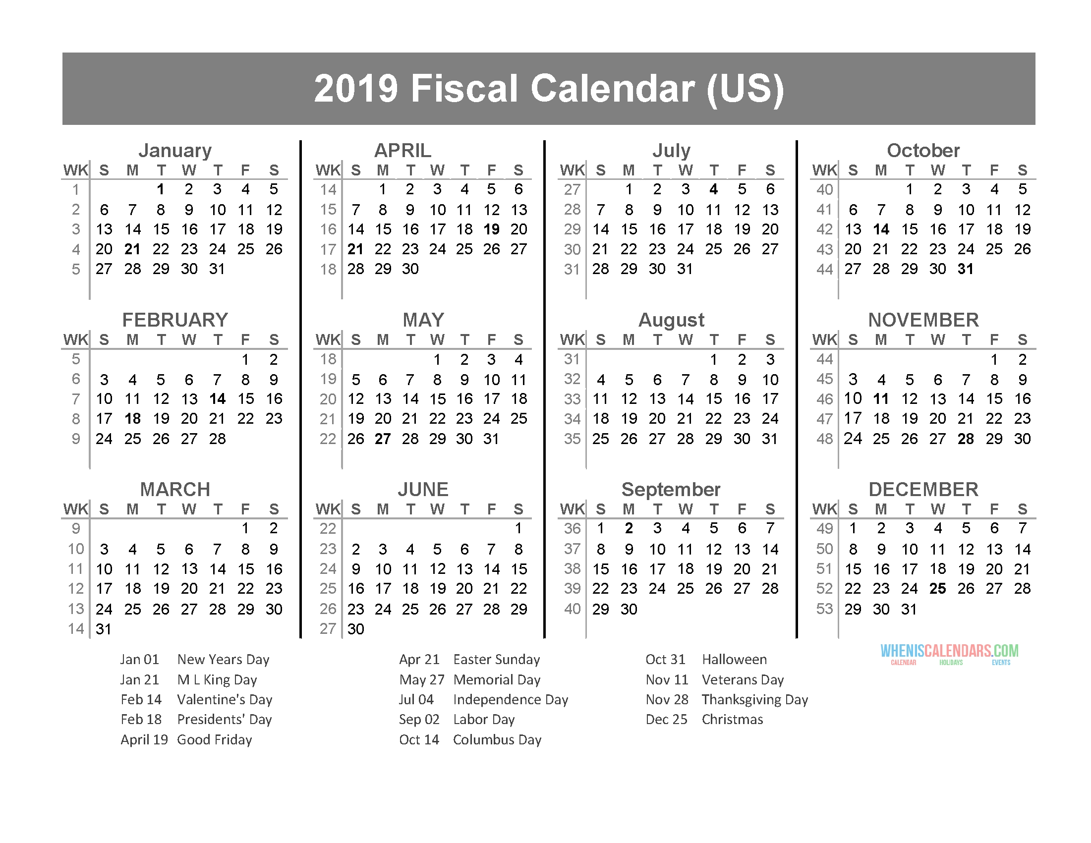 Fiscal Year 2019 Calendar With Us Holidays (January To  Calendar 18/19 Financial Year Australia