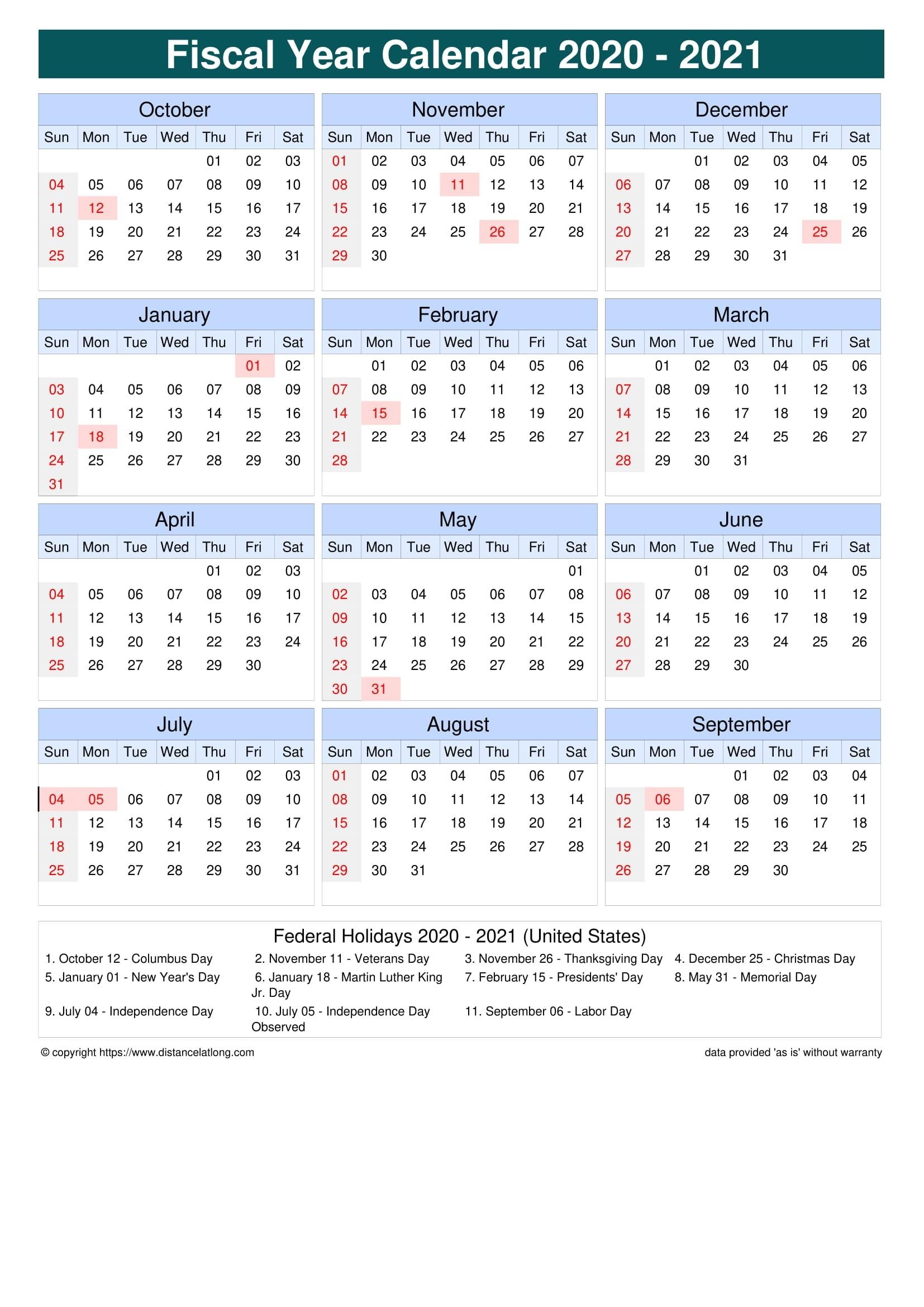 Fiscal Year 2020-2021 Calendar Templates, Free Printable  2021 2021 Financial Calendar Australia