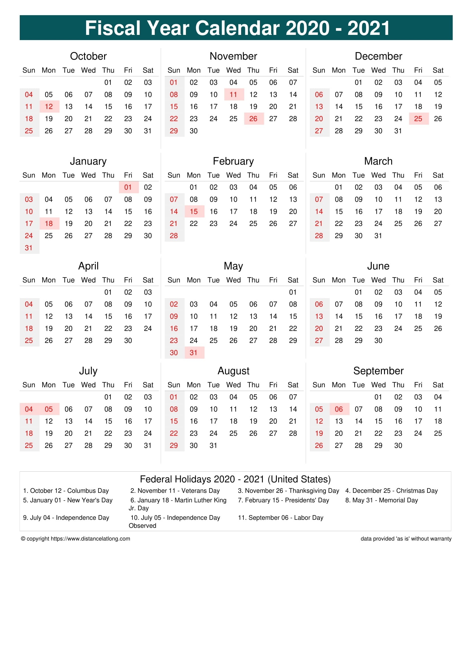 Fiscal Year 2020-2021 Calendar Templates, Free Printable  Calendar 2021 2021 Financial Year