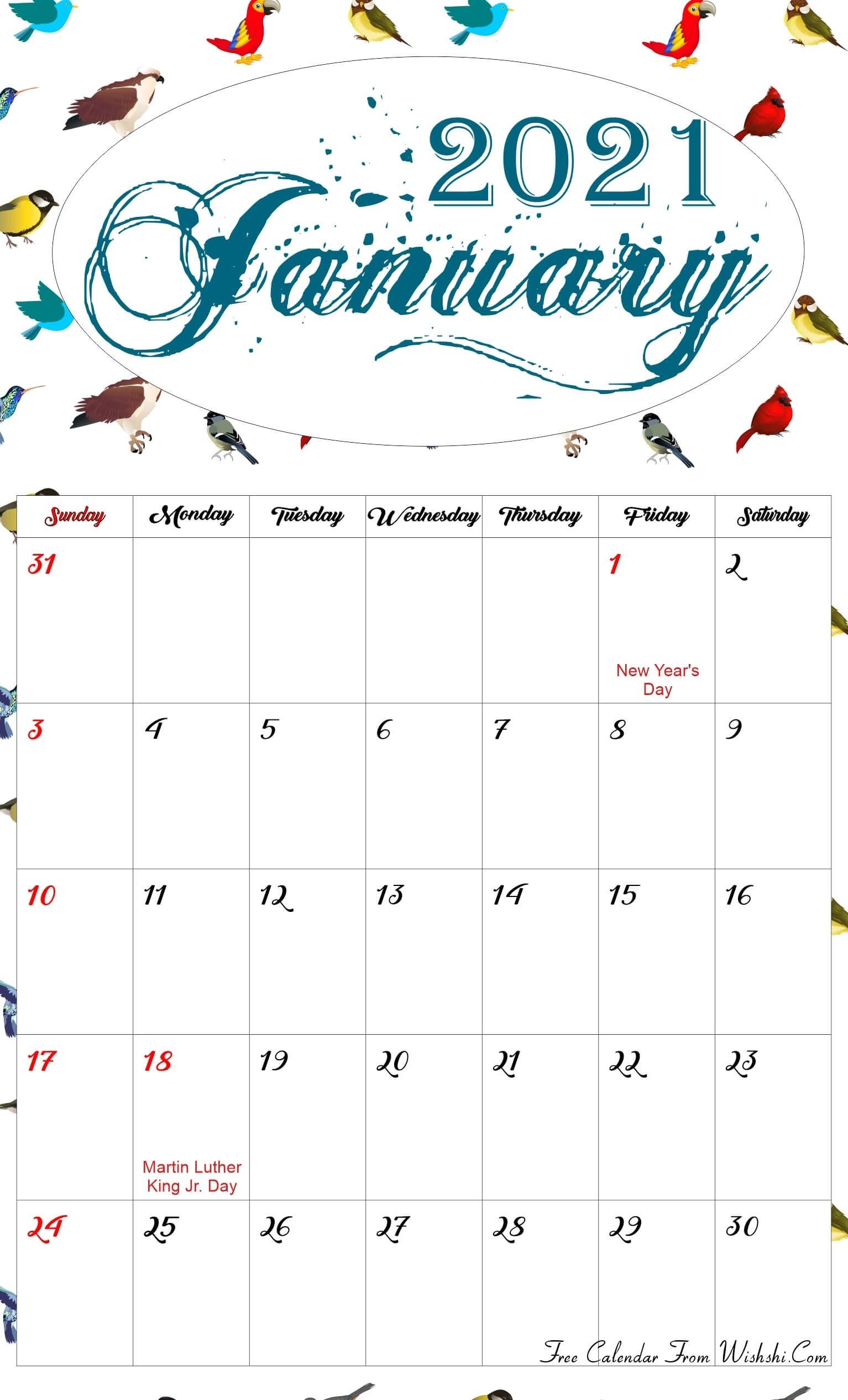 Floral January 2021 Calendar Printable - Free Printable  Girly Monthly Calendar Printable 2021