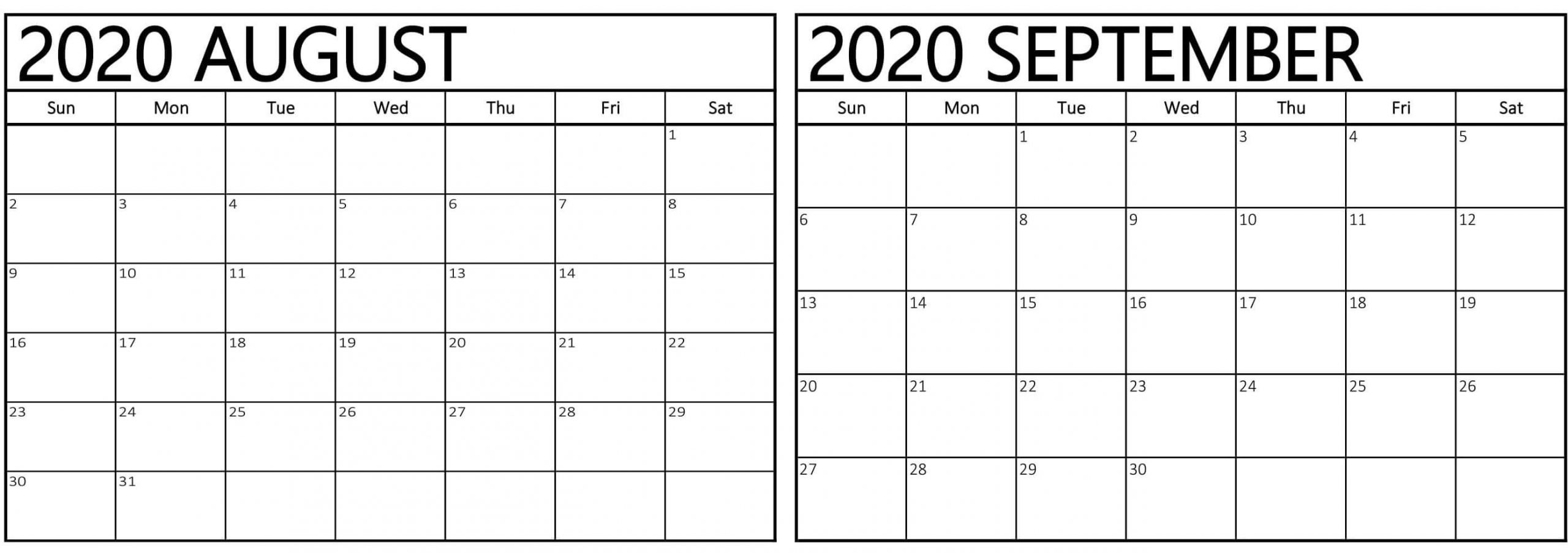 Free 2020 August September Calendar With Holidays - Set Your  Month Of August And September Calendar