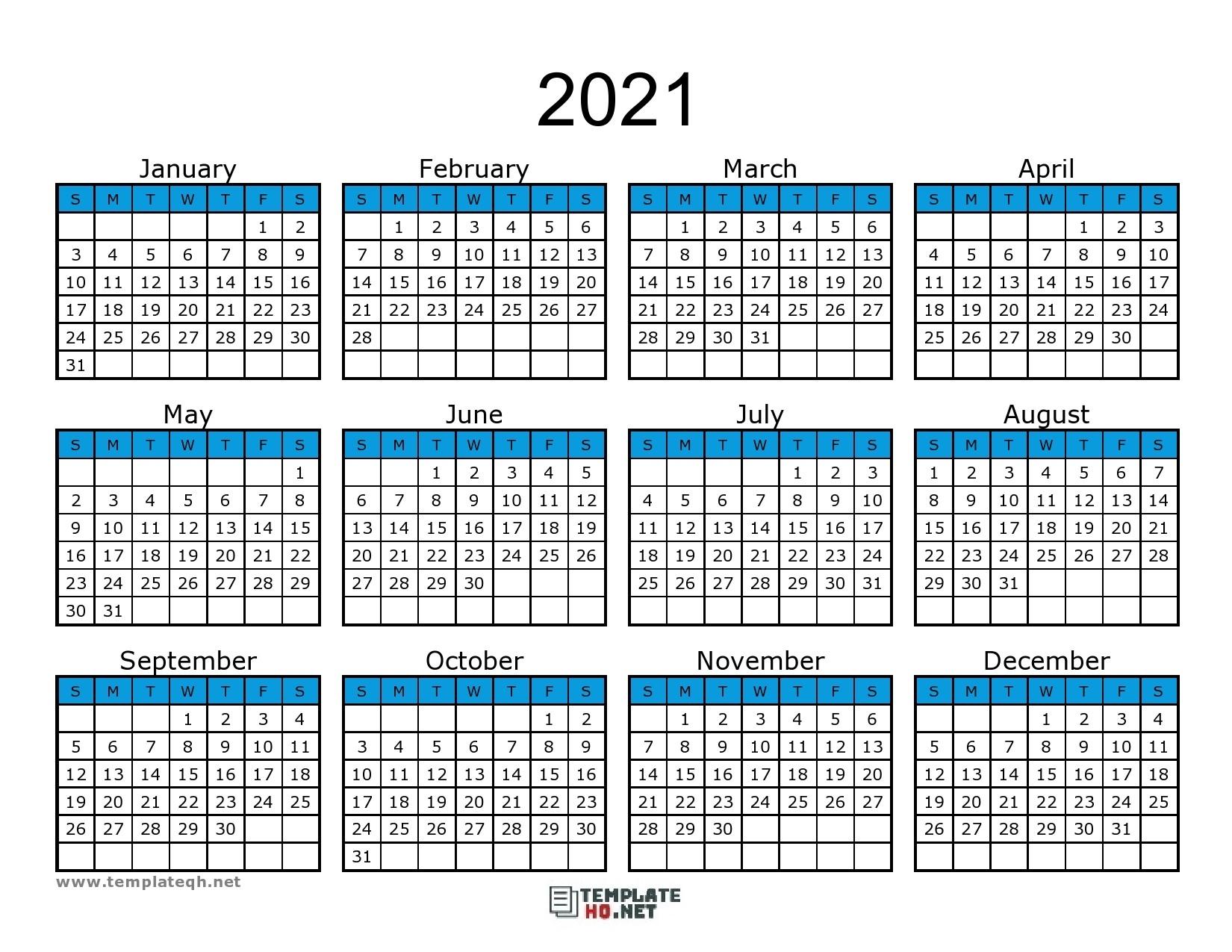 Free 2021 Calendar Printable - Template Hq  2021 Calendar Printable Template