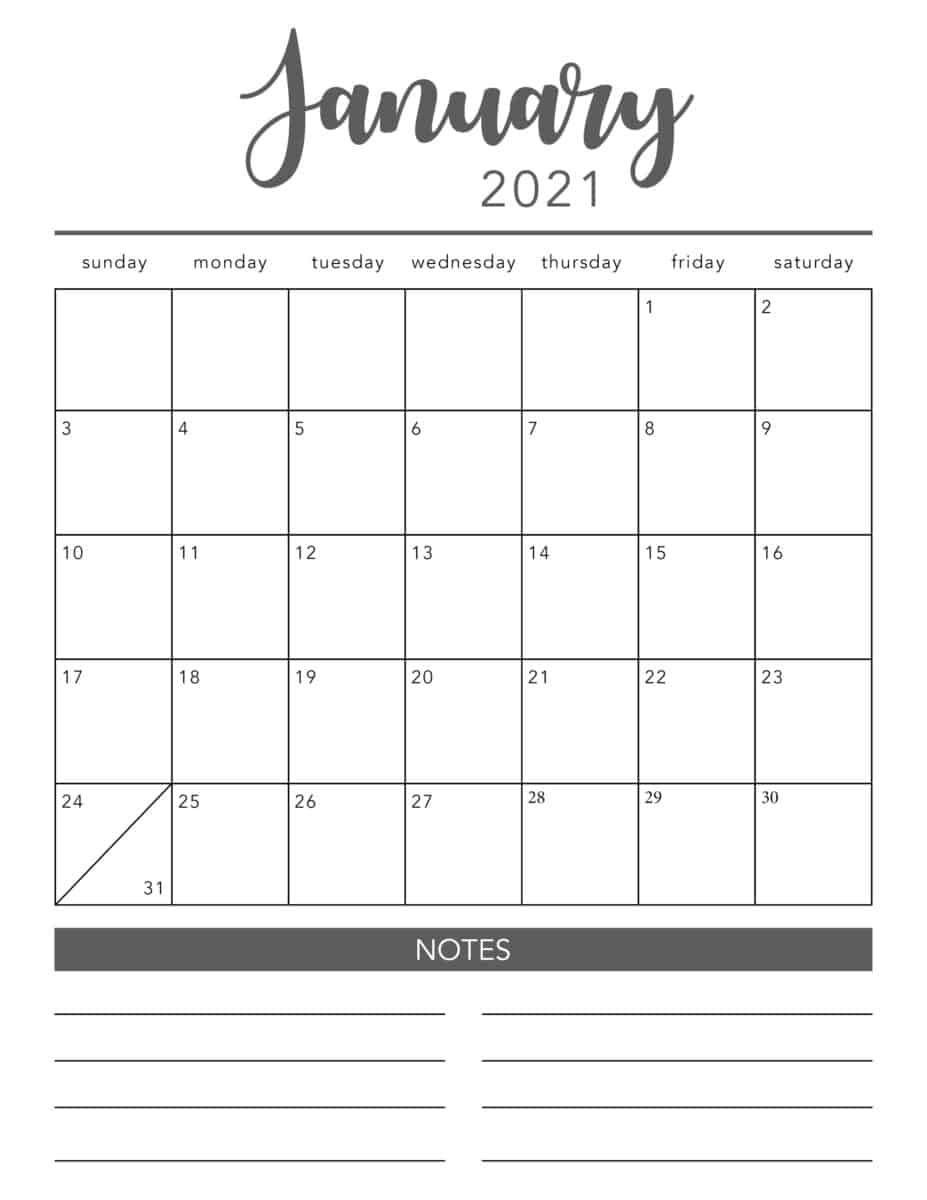 Free 2021 Printable Calendar Template (2 Colors!) - I Heart  Calendar 2021 Free Printable