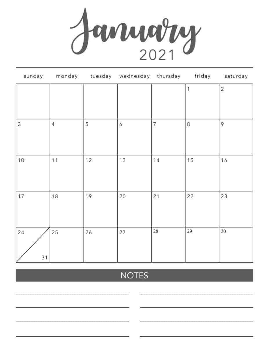 Free 2021 Printable Calendar Template (2 Colors!) - I Heart  Printable Monthly Calendar Templates
