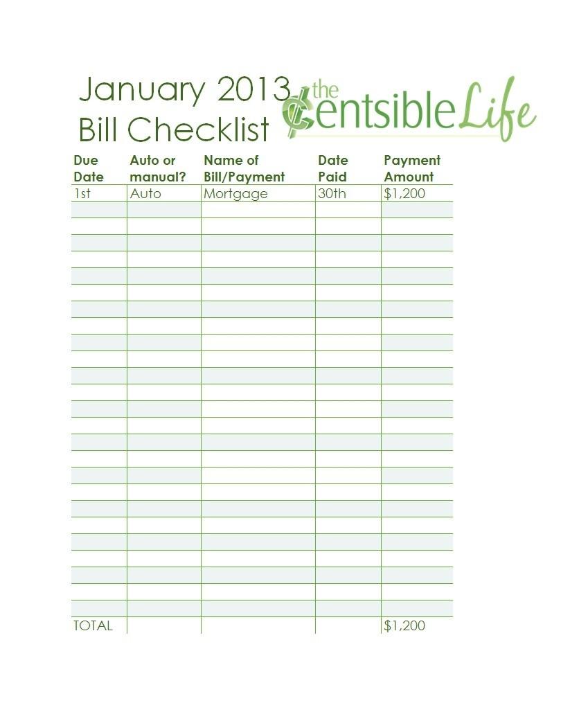 Free Bill Pay Checklists Calendars Pdf Word Excel Checklist  Bill Pay Printable Checklist Templates