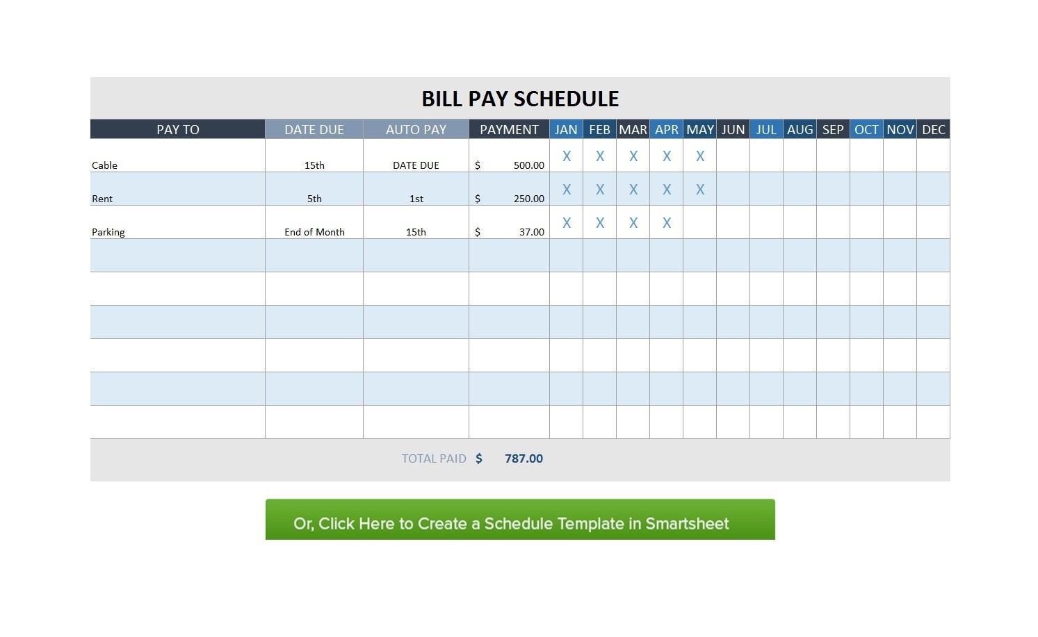 Free Bill Paying Sheet Paid Pay Excel Monthly App Payment  Monthly Calendar Payment Excel Template