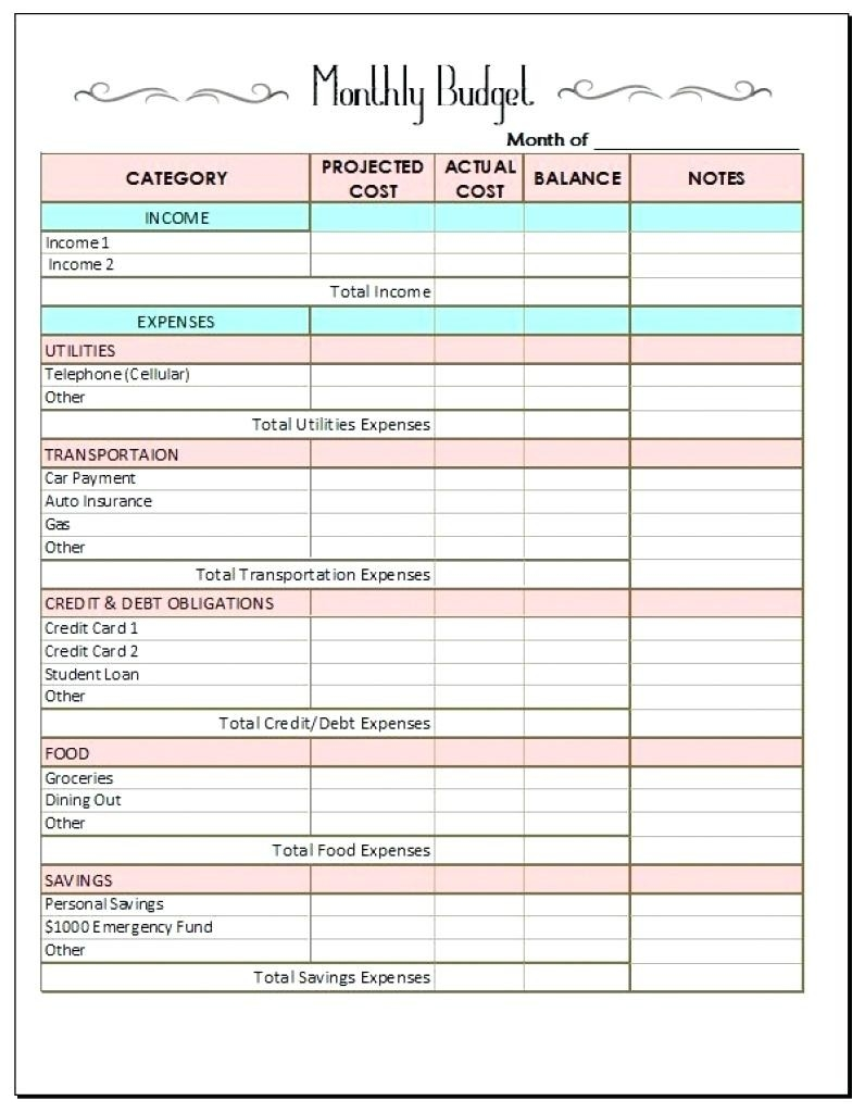 Free Bill Tracking Spreadsheet Household Expense Monthly  Bill Paying Worksheet Pdf