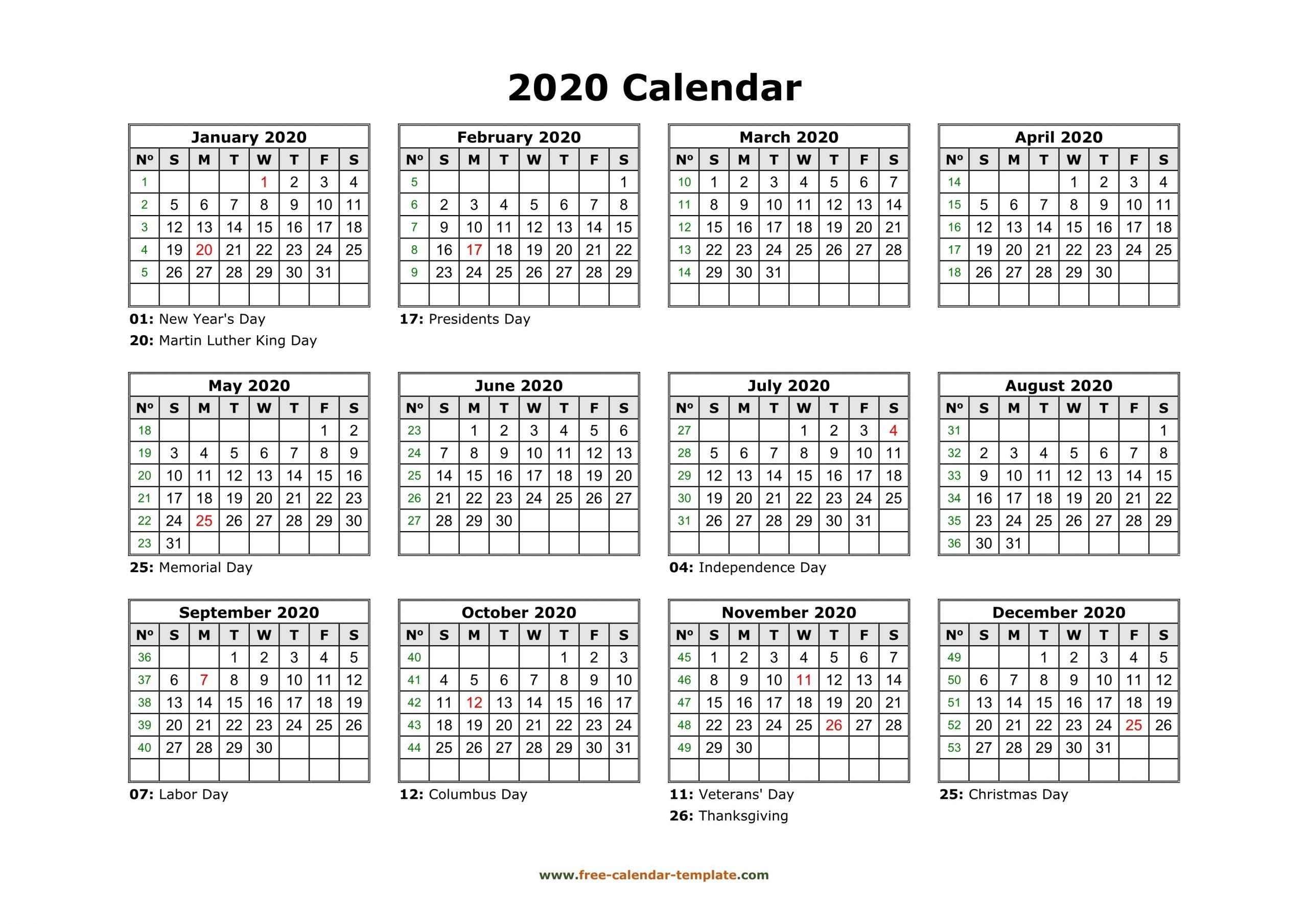 Free Calendar Template 2020 And 2021  Free Calendar Templates Printable