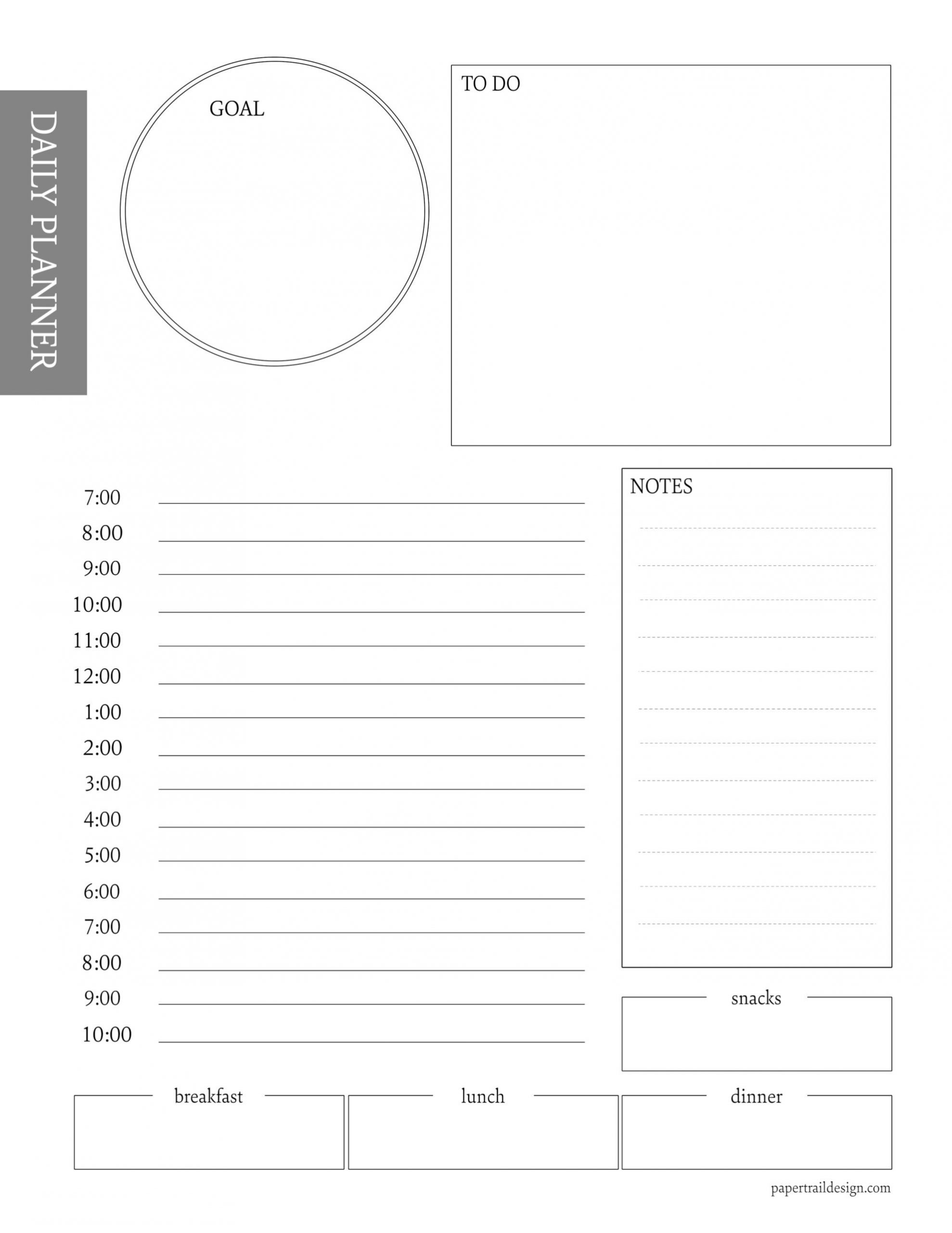 Free Daily Planner Printable Template | Paper Trail Design  Desktop Scheduler Free Download To Print Out