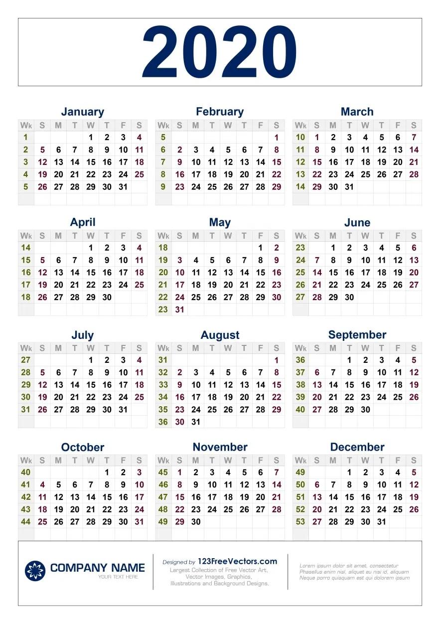 Free Download 2020 Calendar With Week Numbers In 2020  2020 Weekly Calendar