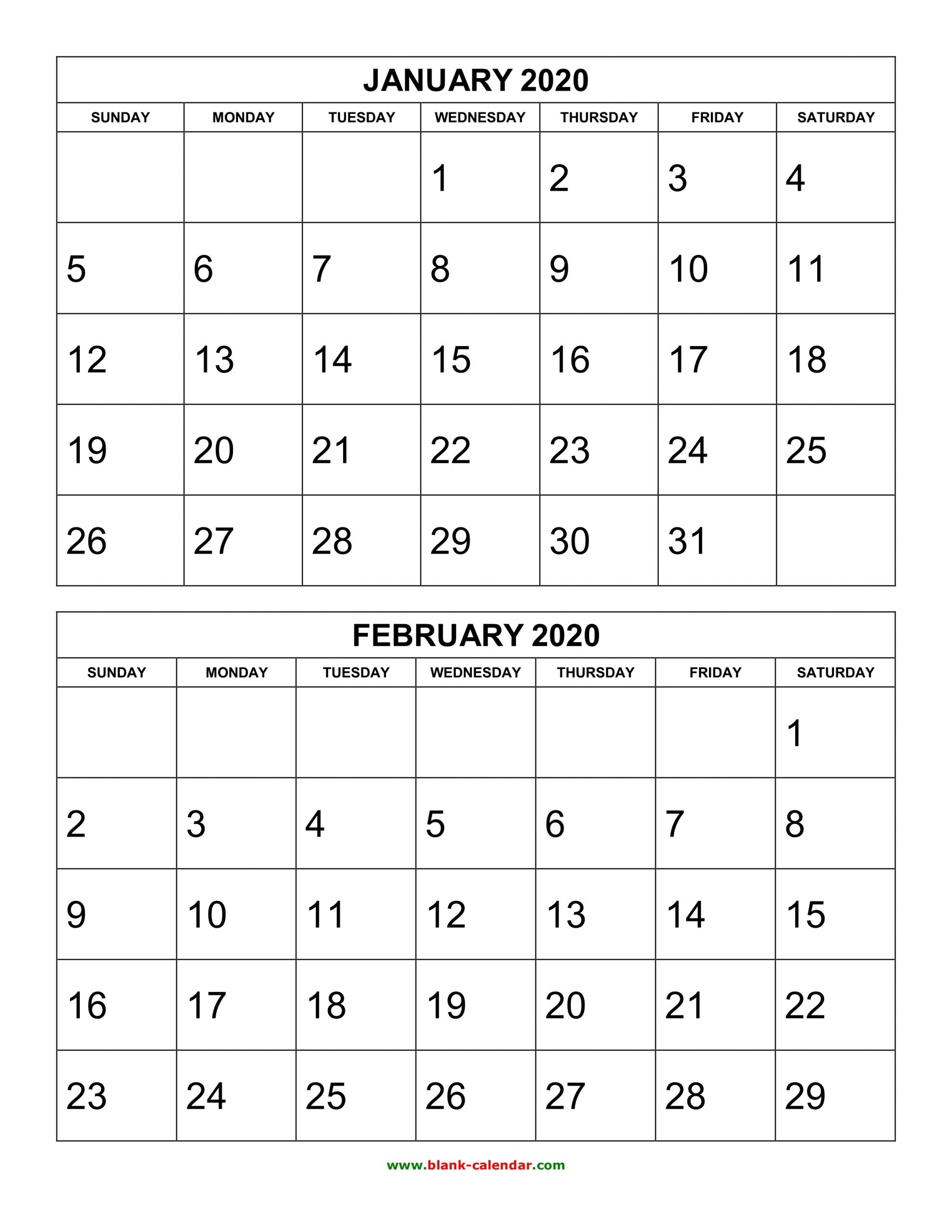 Free Download Printable Calendar 2020, 2 Months Per Page, 6  Printable 2 Month Calendar