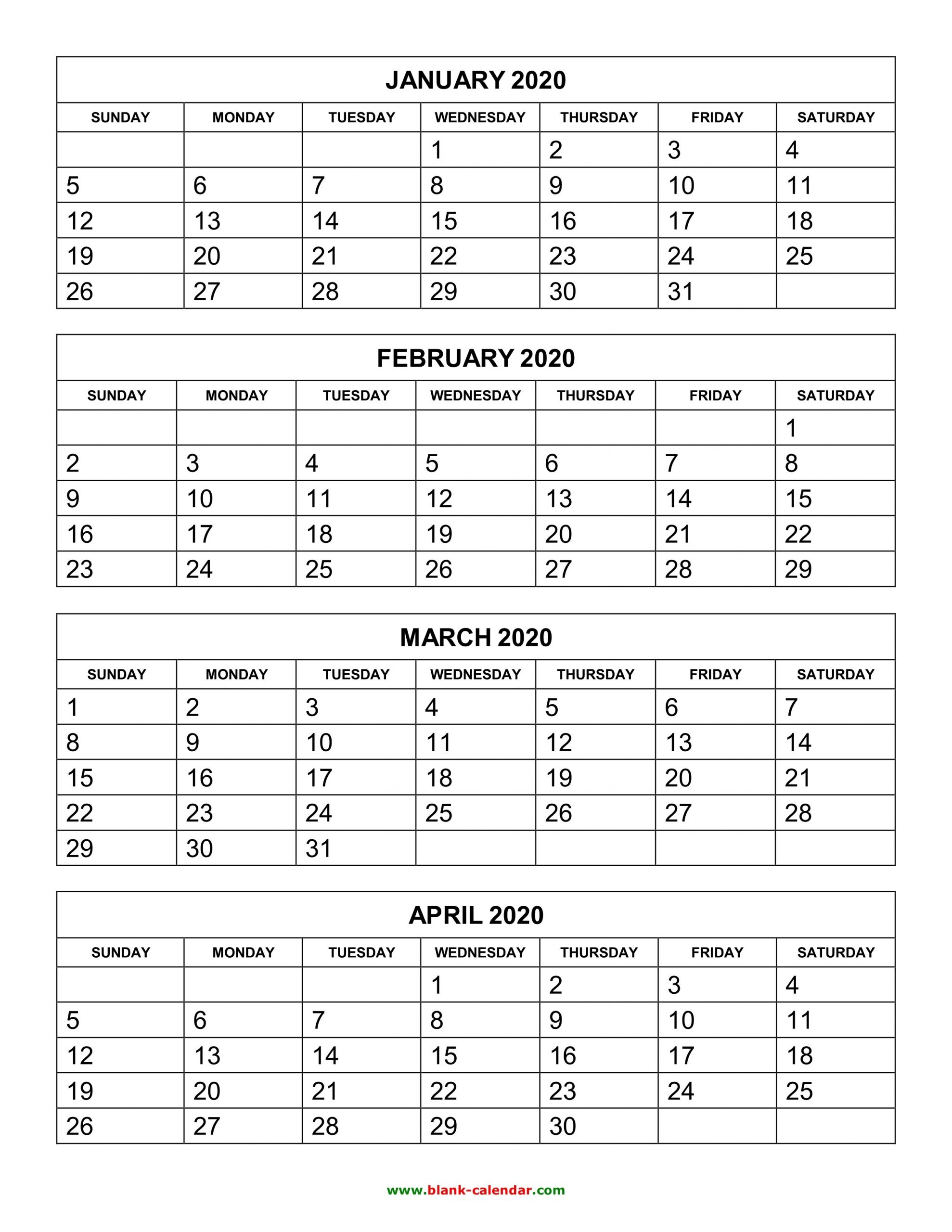 Free Download Printable Calendar 2020, 4 Months Per Page, 3  Printable Calendars 3 Months To A Page
