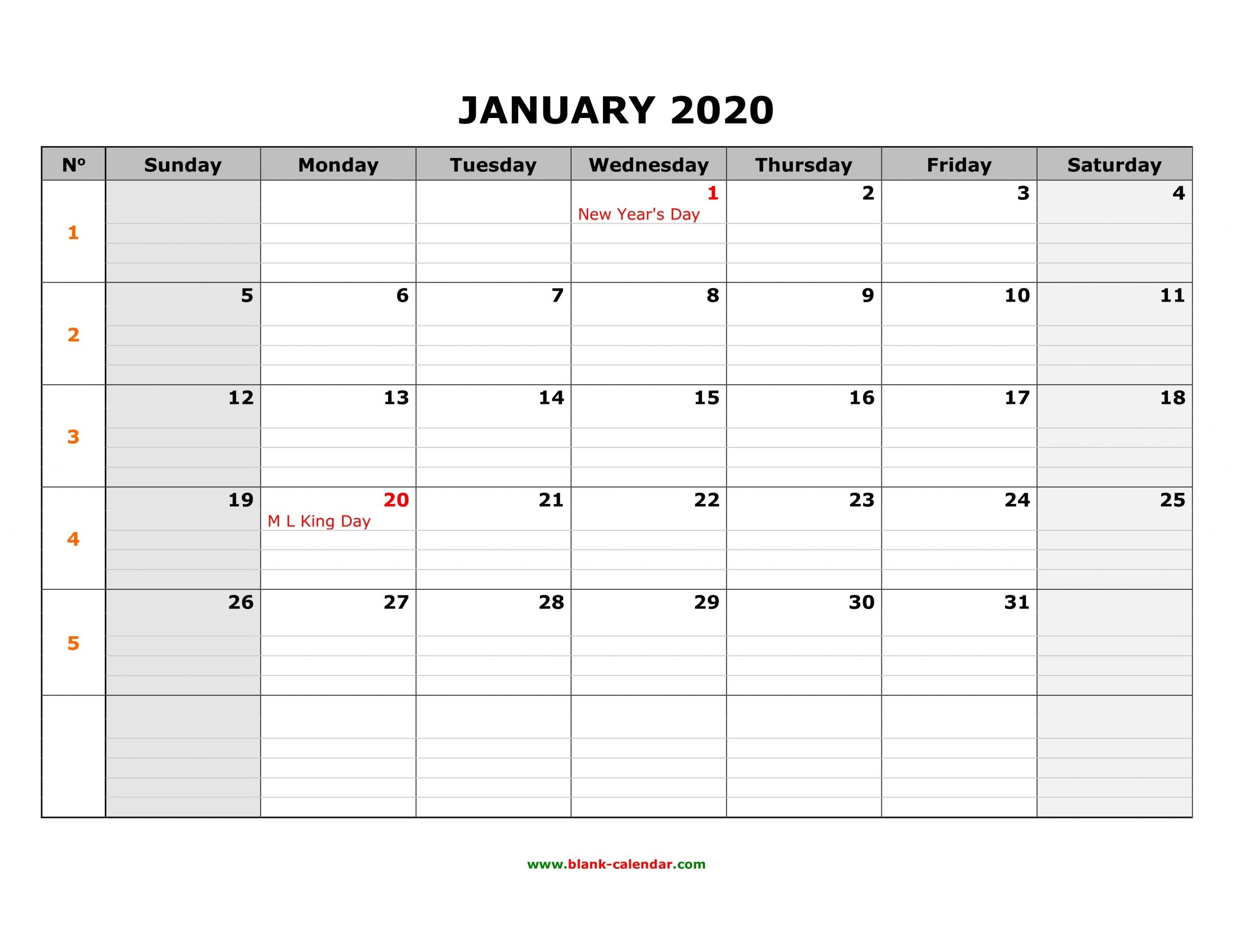 Free Download Printable Calendar 2020, Large Box Grid, Space  Free Download Printable 2020 Monthly Calendar