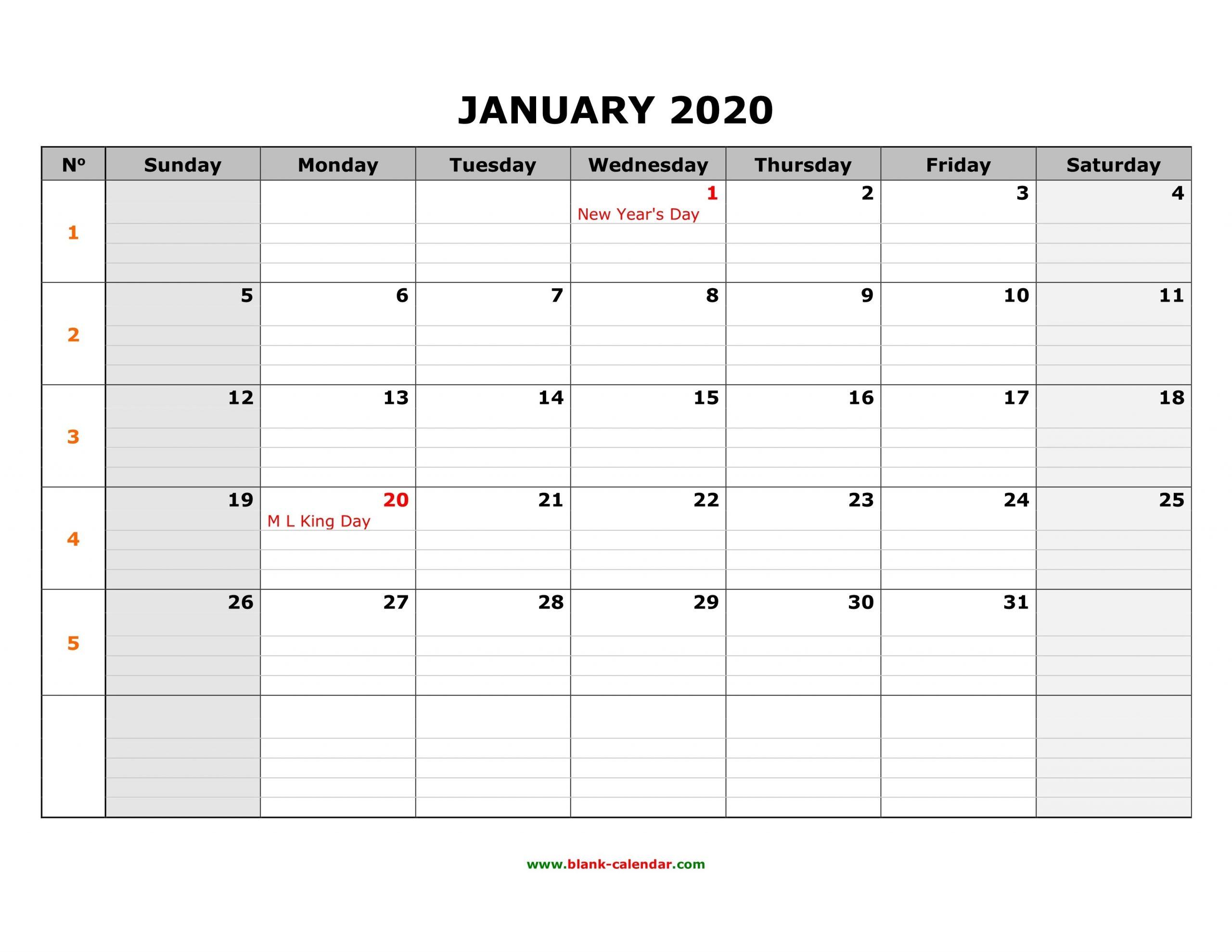 Free Download Printable Calendar 2020, Large Box Grid, Space  Free Download Printable 2020 Monthly Calendar