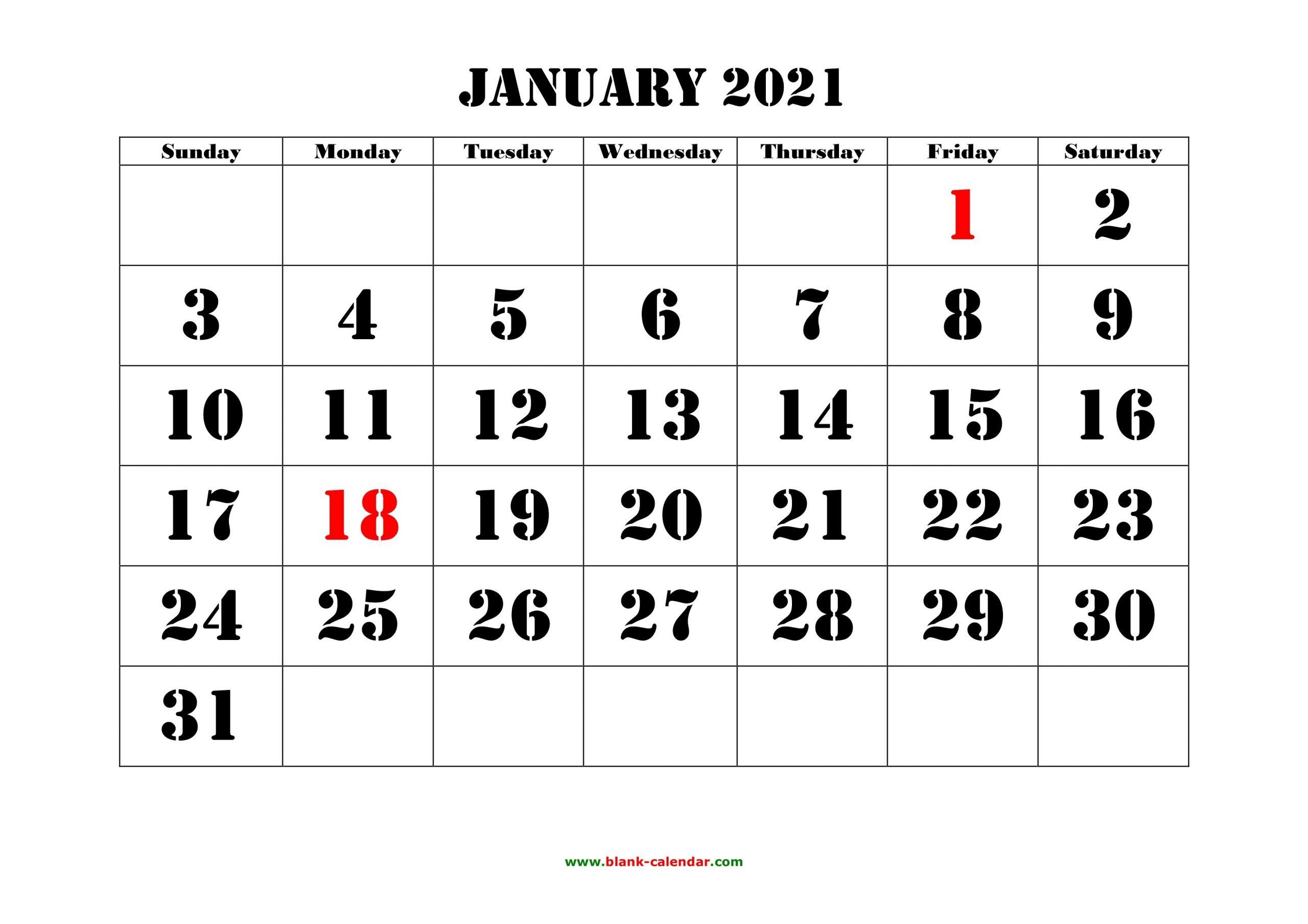 Free Download Printable Calendar 2021, Large Font Design  Monthly Calendar 2021