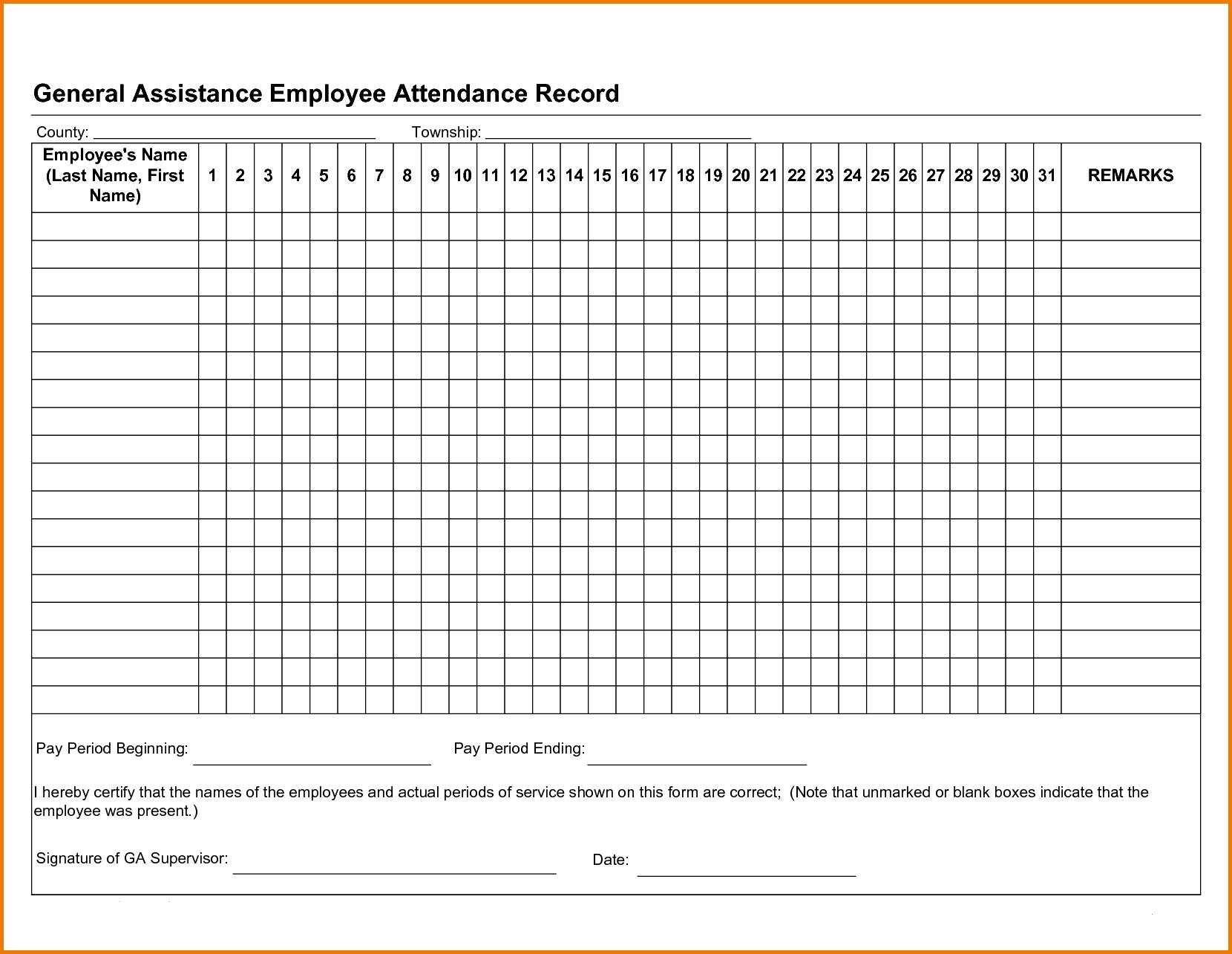 Free Employee Attendance Tracker Excel 2019 | Attendance  Printable Employee Attendance Calendar Template