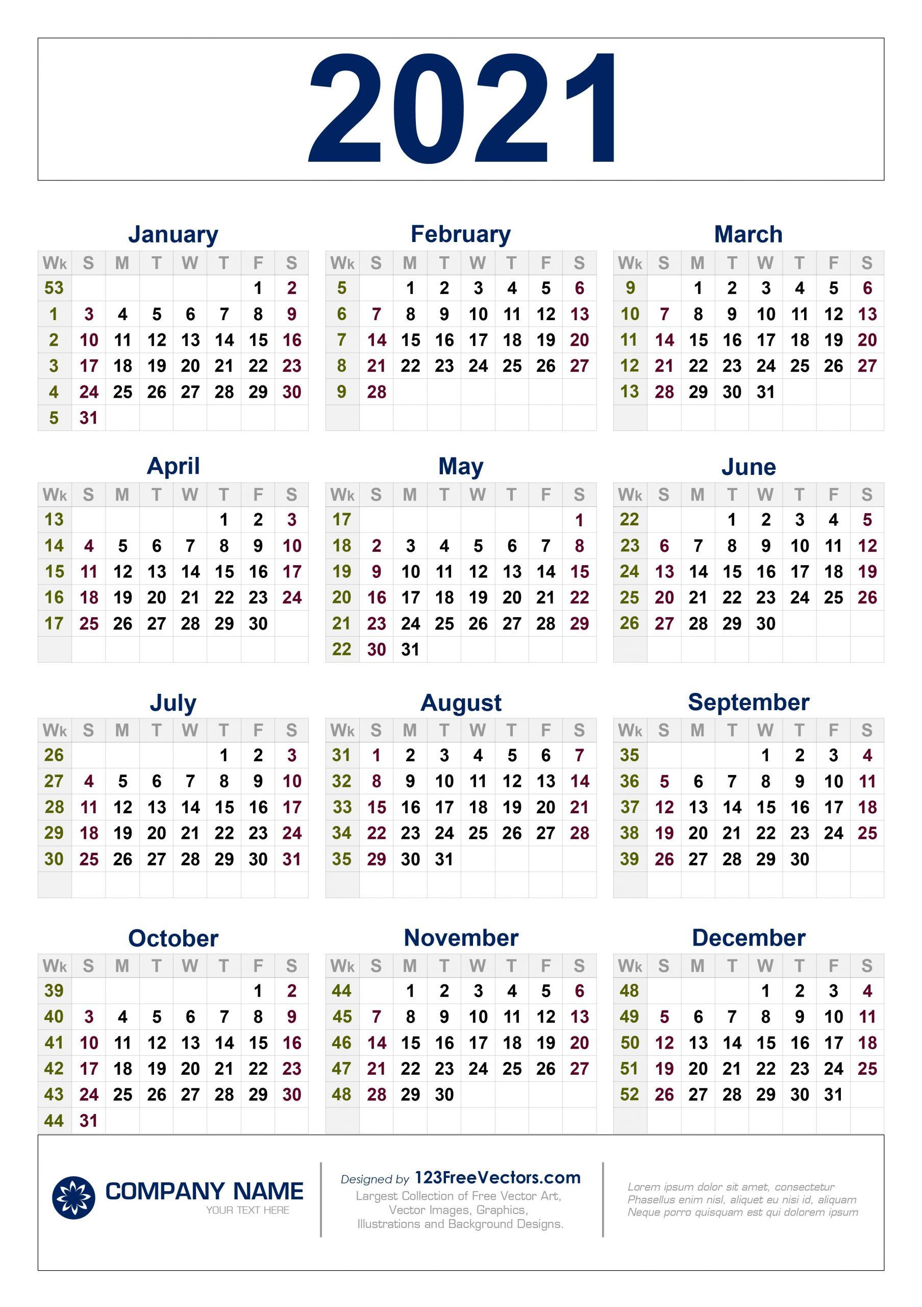 2021 Calendar Weeks Numbered - Template Calendar Design