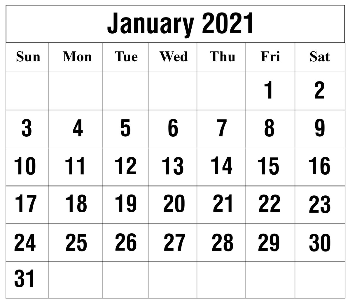 Free January 2021 Printable Calendar Template In Pdf, Excel  Calendar 2021 With Gregorian Dates