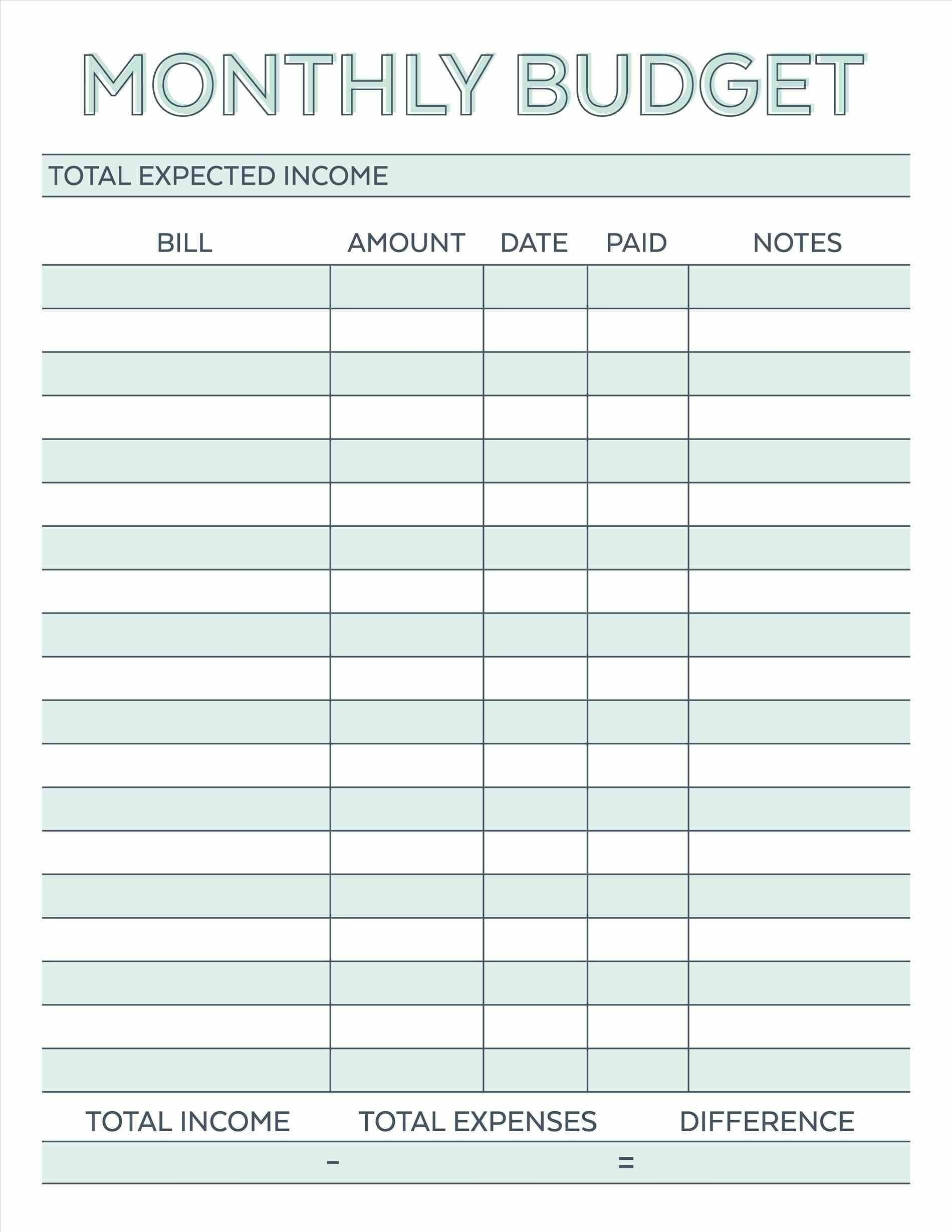 Free Monthly Budget Spreadsheet Template In 2020 | Budget  Printable Budget Worksheet Free