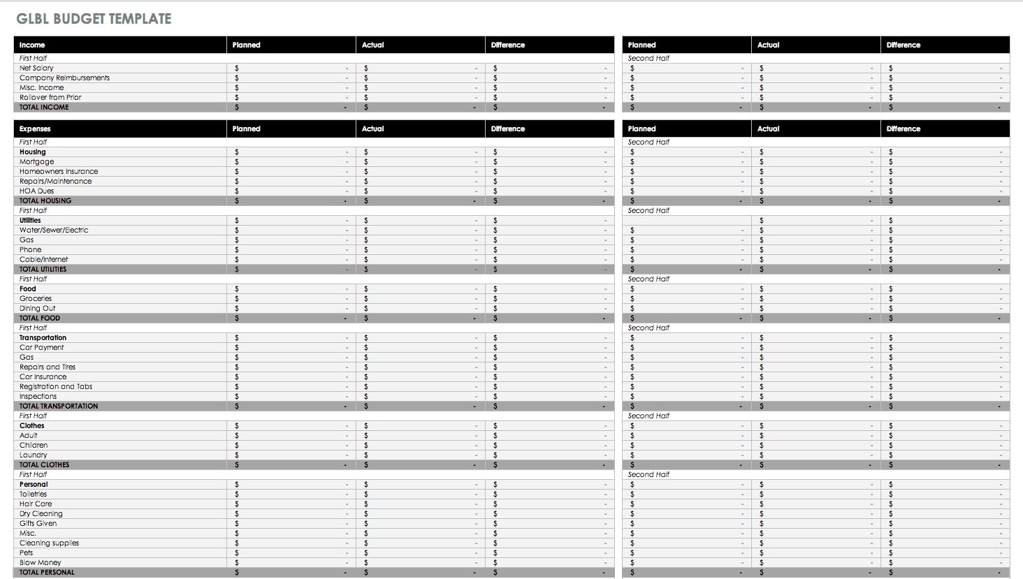 Free Monthly Budget Templates | Smartsheet  Monthly Bills Spreadsheet