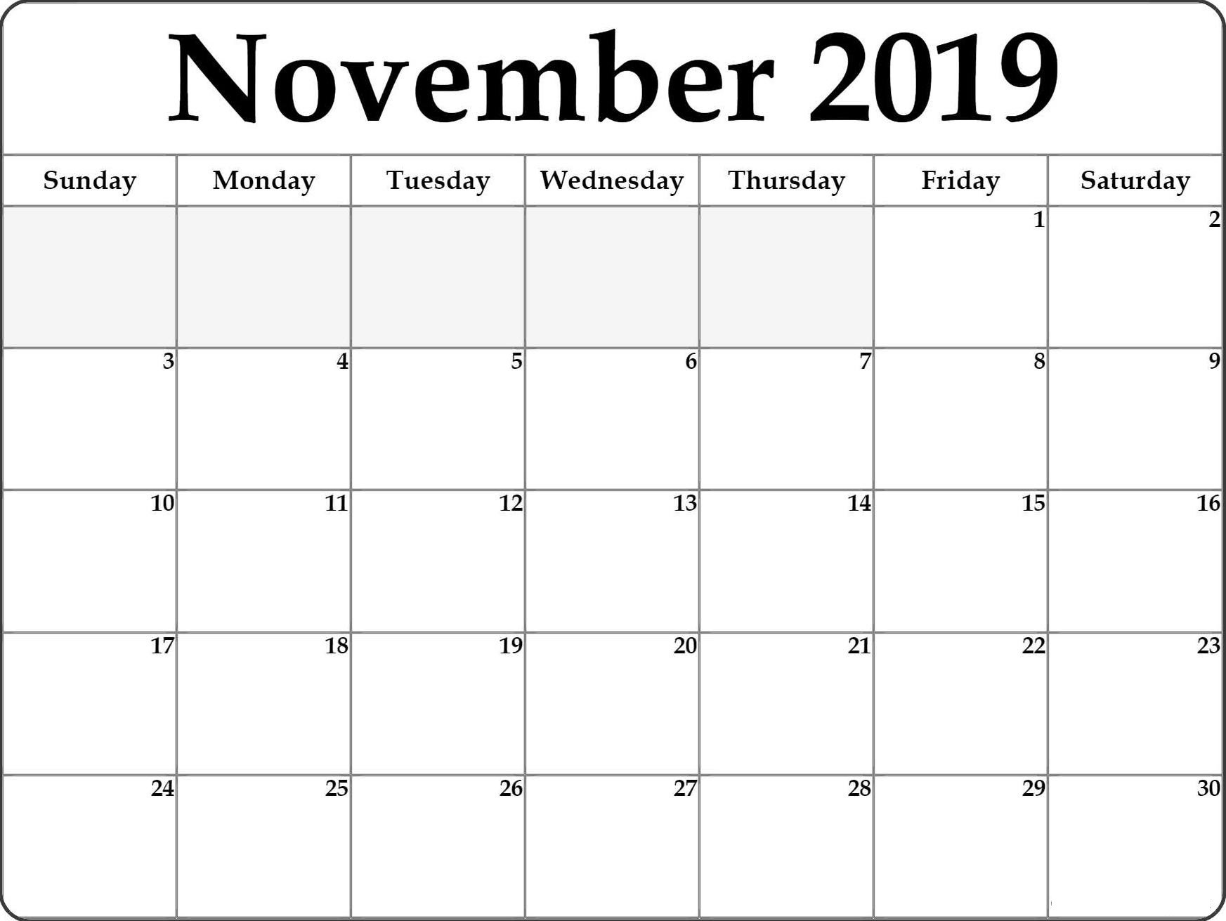 Free November Calendar 2019 Print Out - Set Your Plan  Full Page Calendar Print Out