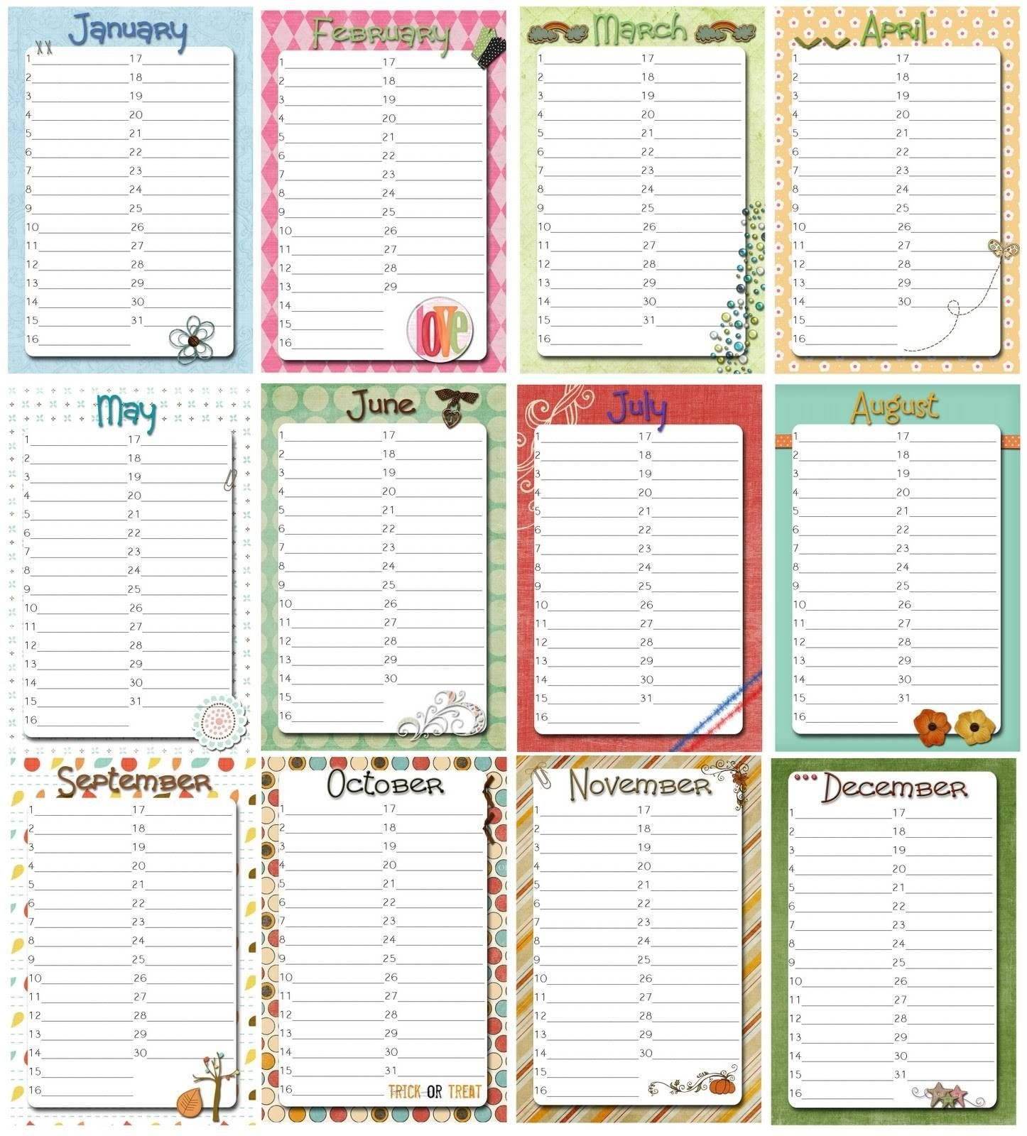 Free Perpetual Calendar Template | Posts Related To  Perpetual Monthly Planner June