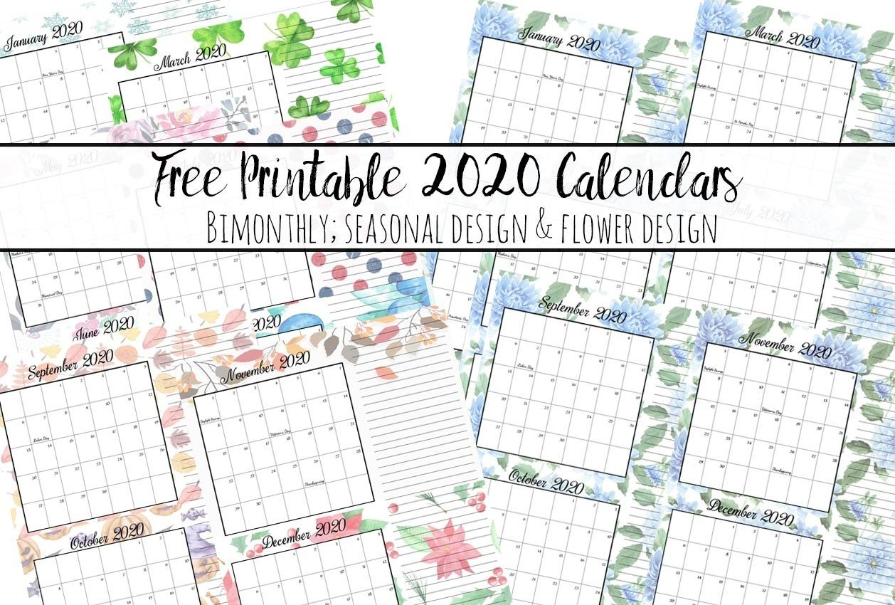 Free Printable 2020 Bimonthly Calendars With Holidays: 2 Designs  Free Printable Bill Pay Calendar 2020