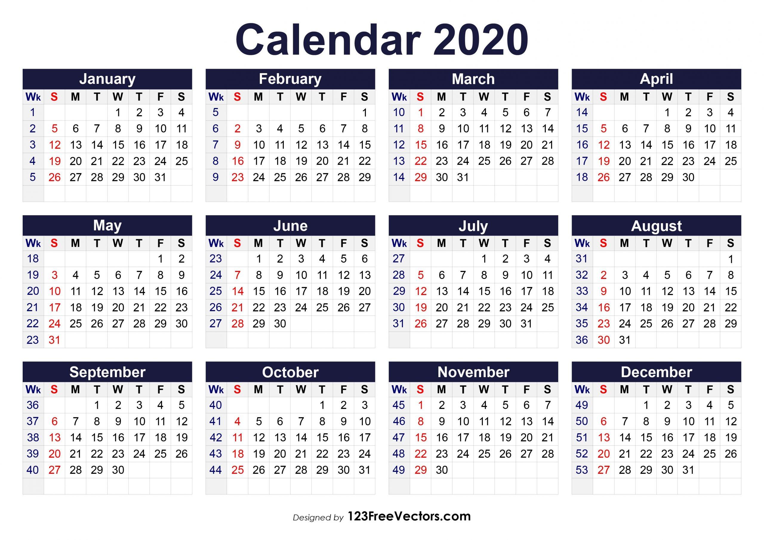 Free Printable 2020 Calendar With Week Numbers  2020 Weekly Calendar
