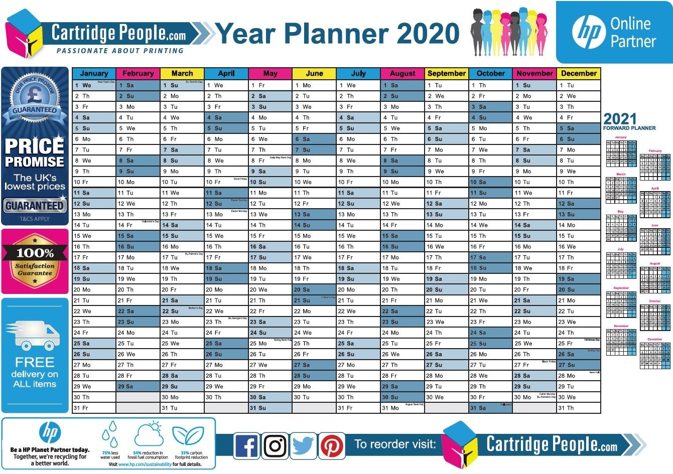 Free Printable 2020 Wall Planner | A4 And A3 | Download Now  A3 Calendar Template